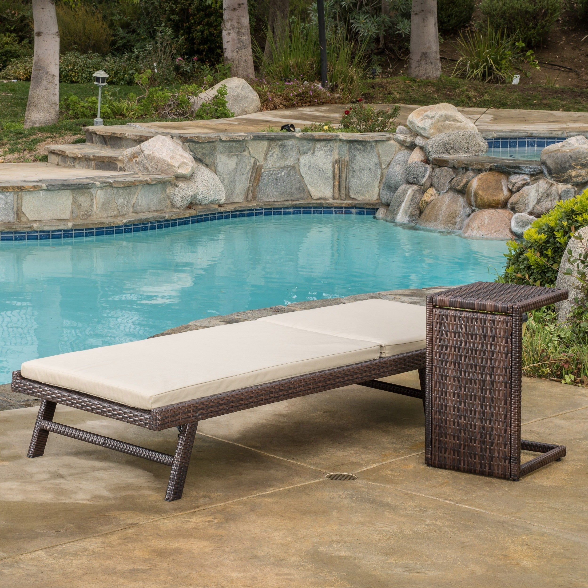 Shop Waveland Outdoor 2 Piece Wicker Adjustable Chaise Lounge Set With  Cushion By Christopher Knight Home   On Sale   Free Shipping Today    Overstock.com   ...