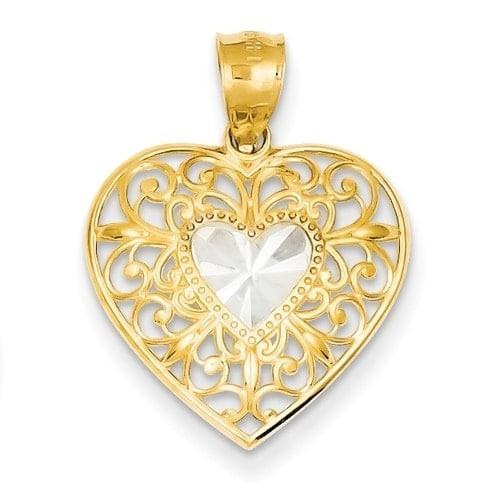Versil 14k yellow gold filigree heart pendant with 18 inch chain versil 14k yellow gold filigree heart pendant with 18 inch chain free shipping today overstock 18597526 aloadofball Choice Image