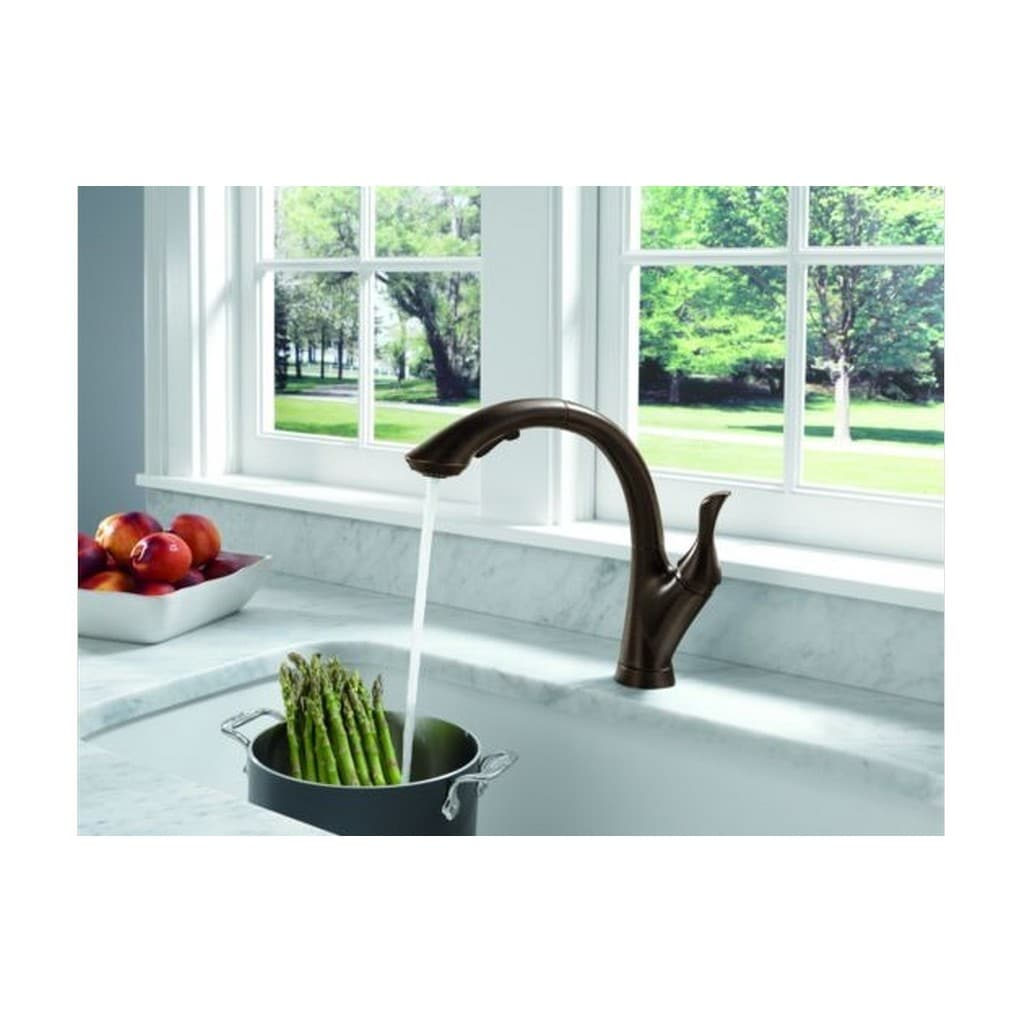 Delta Linden Single Handle Pull-Out Kitchen Faucet 4153-RB-DST ...
