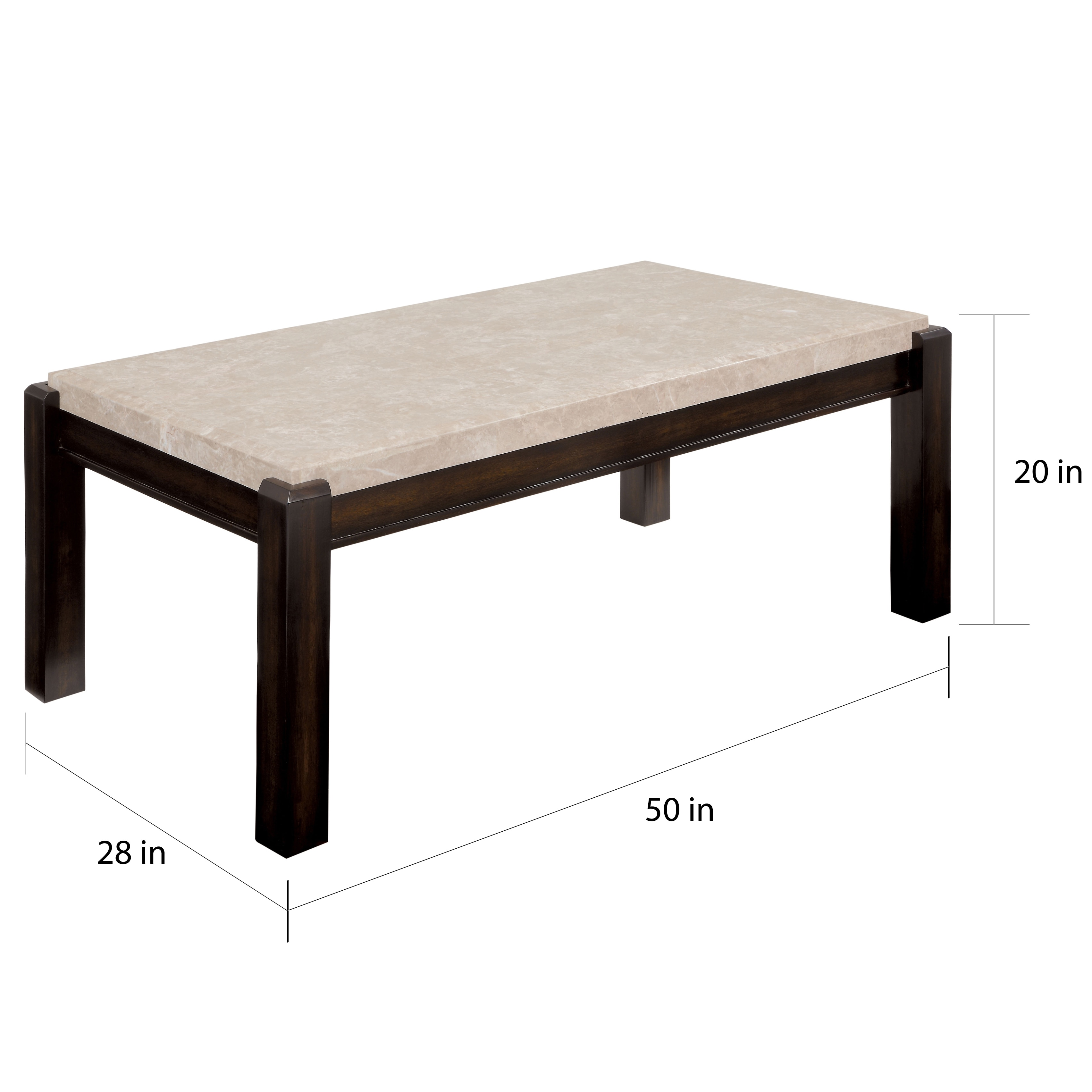 Shop Furniture Of America Leslie Genuine Marble Top Coffee Table   On Sale    Free Shipping Today   Overstock.com   11669302