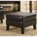 Porch & Den Botanical Heights Klemm Brown Bonded Leather Ottoman