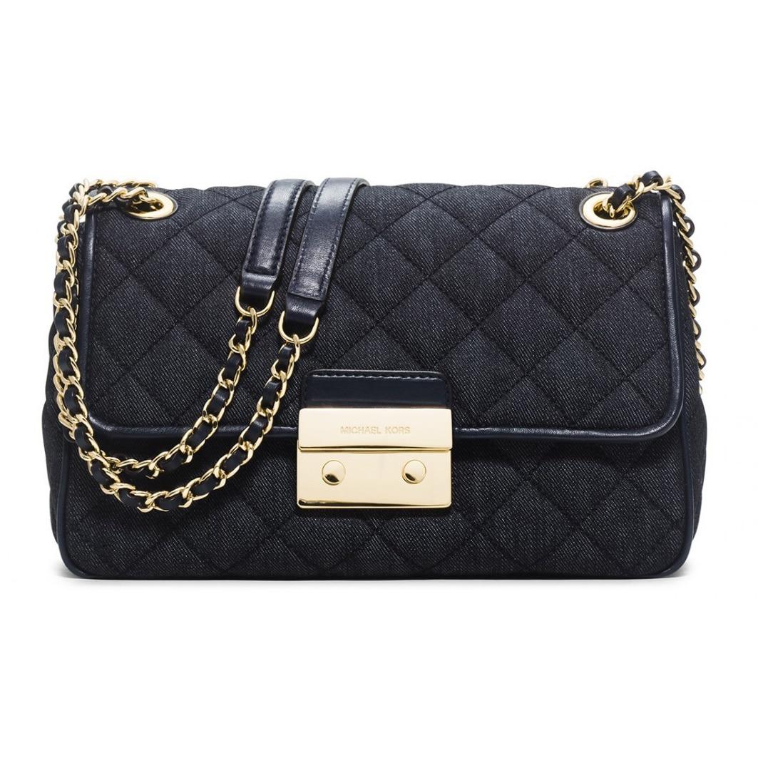 c6ef5e34054 Shop Michael Kors Sloan Dark Denim Large Chain Shoulder Handbag ...