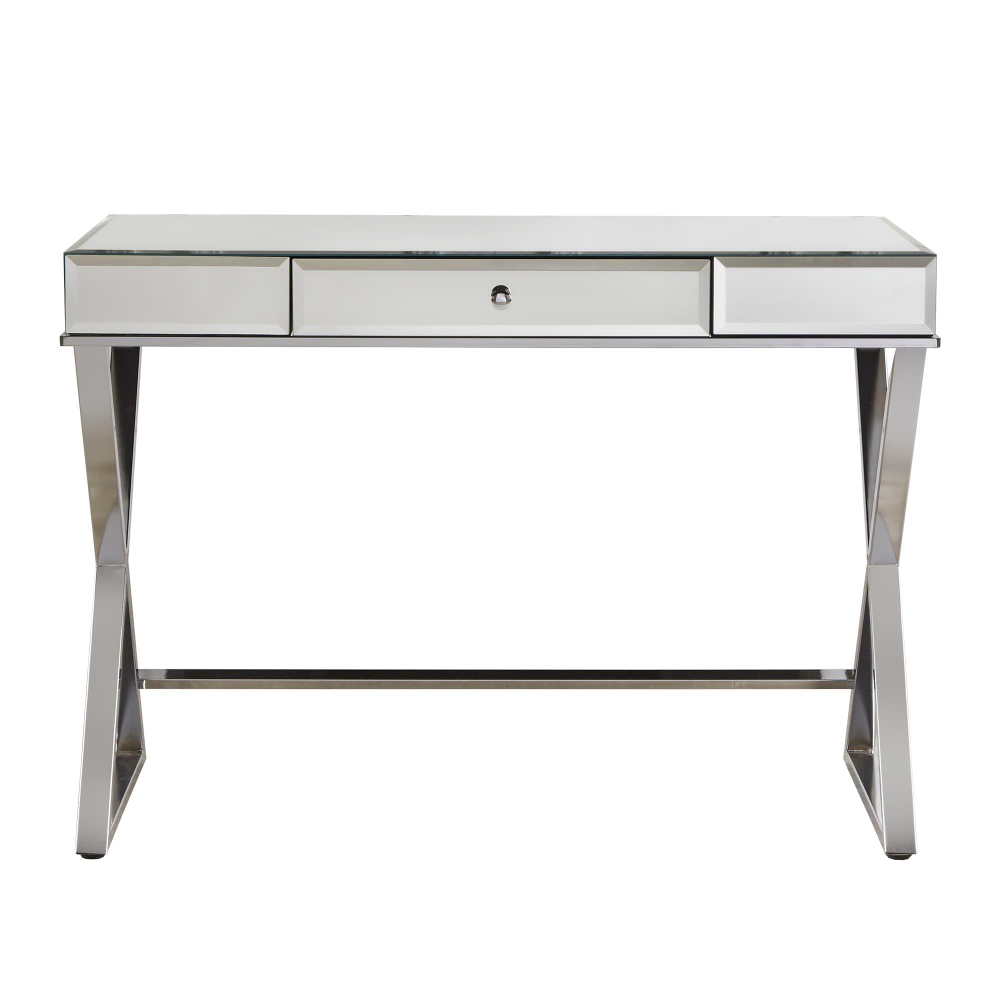 shop omni x base mirrored top 1 drawer campaign desk by inspire q rh overstock com x base computer desk x base desk white