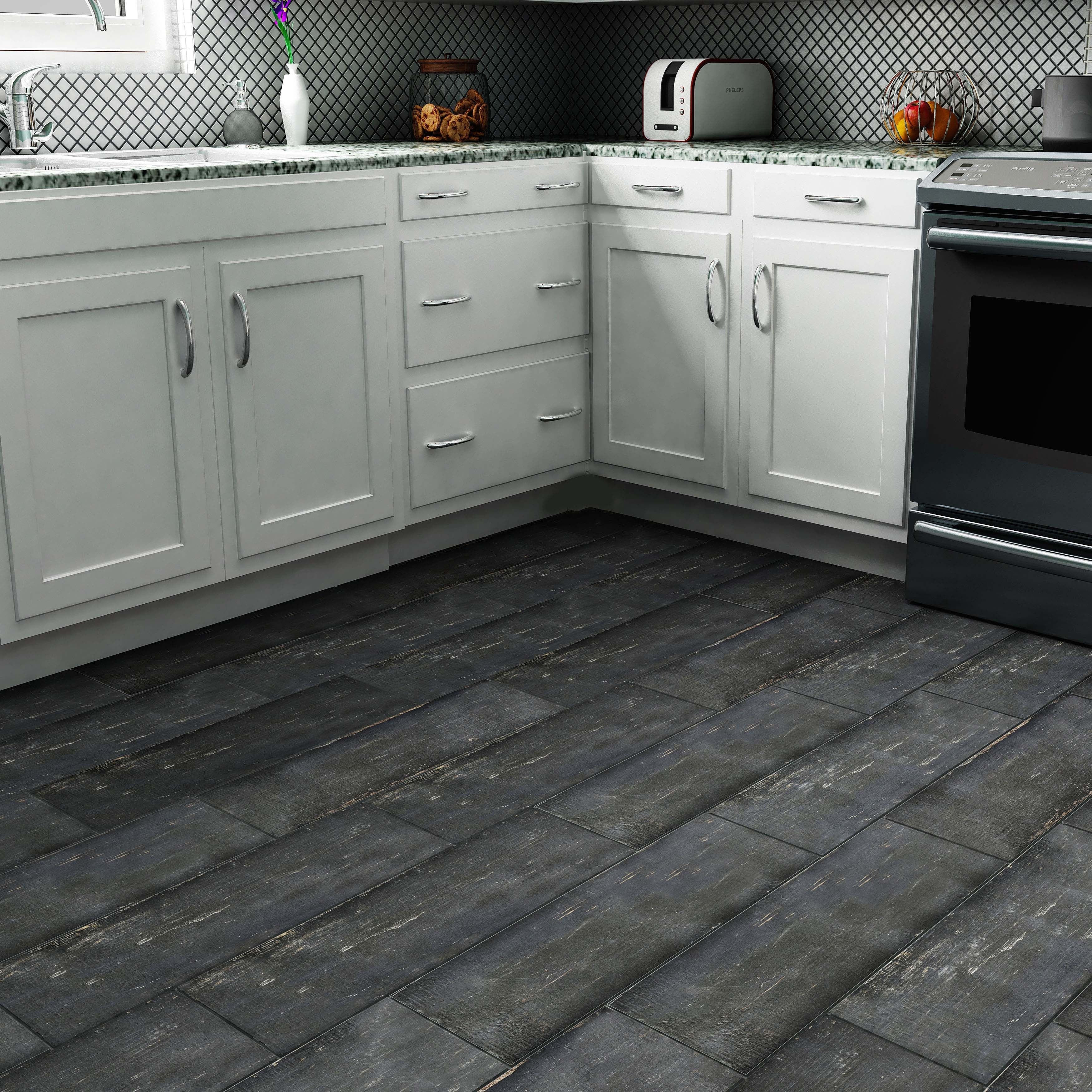 SomerTile 8 25x23 5 inch Lambris Negre Porcelain Floor and Wall Tile