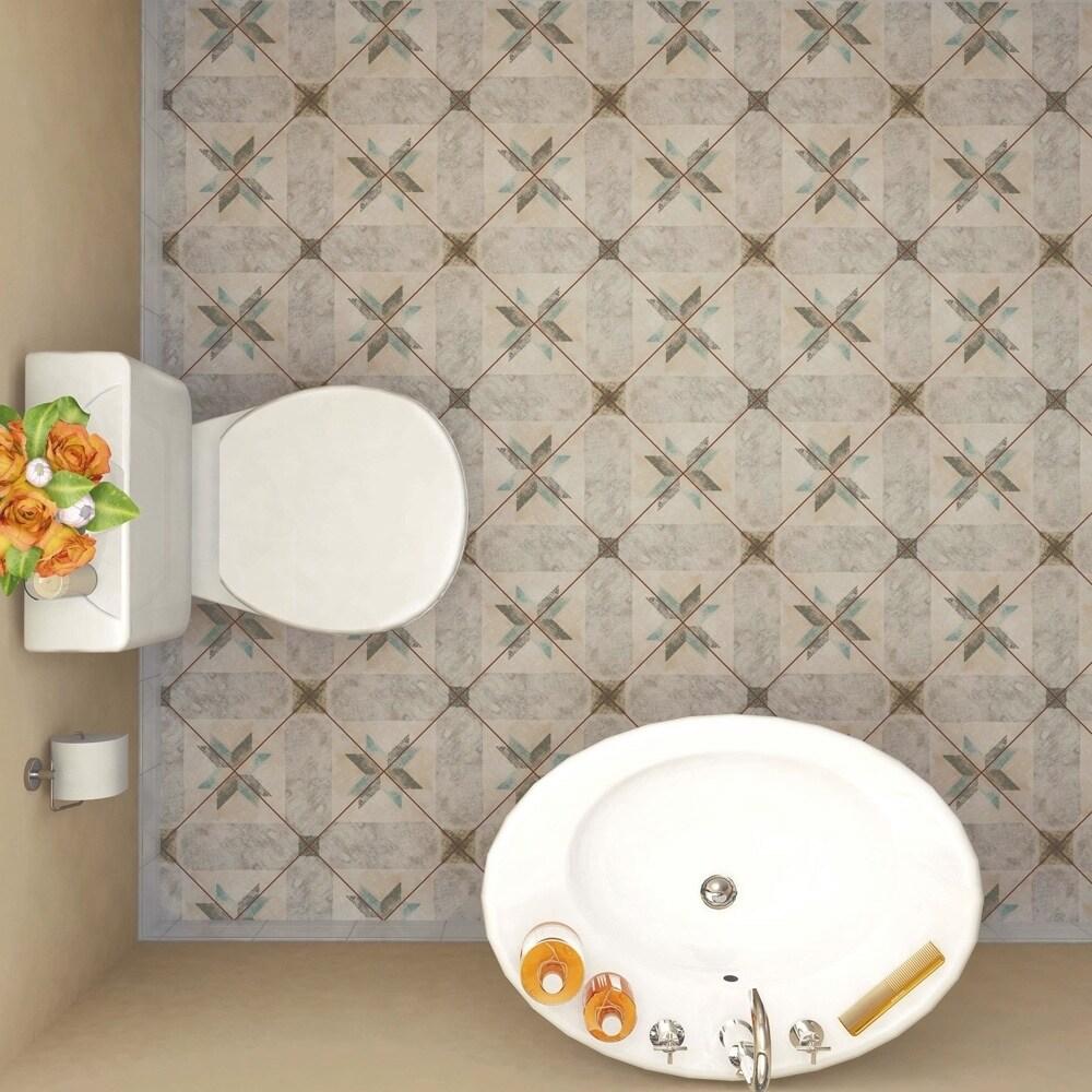 Shop SomerTile Xinch Campania Star Blue Porcelain Floor And - Ceramic tile star designs