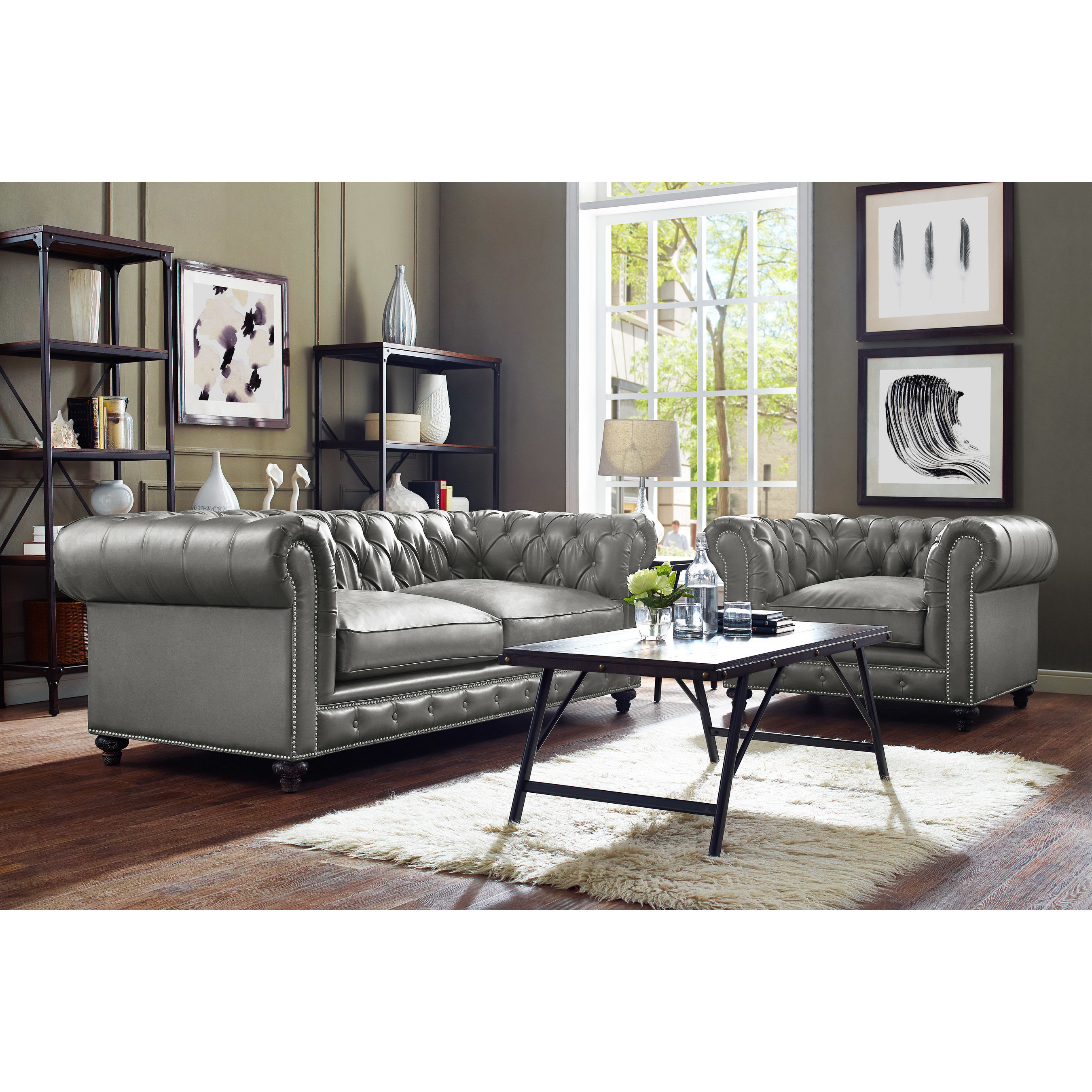 Button tufted and nailhead trimmed leather living room set in grey