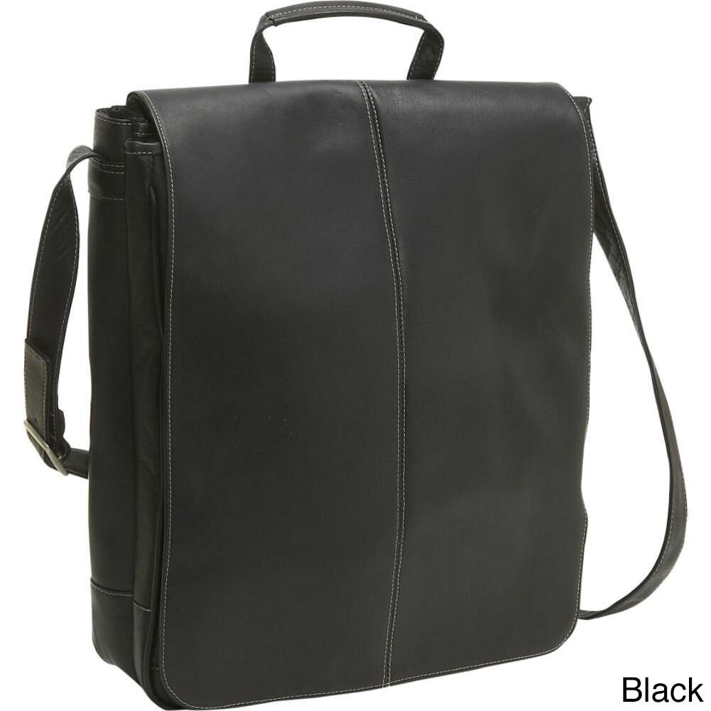 Shop LeDonne Leather Vertical 17-inch Laptop Messenger Bag - Free ...