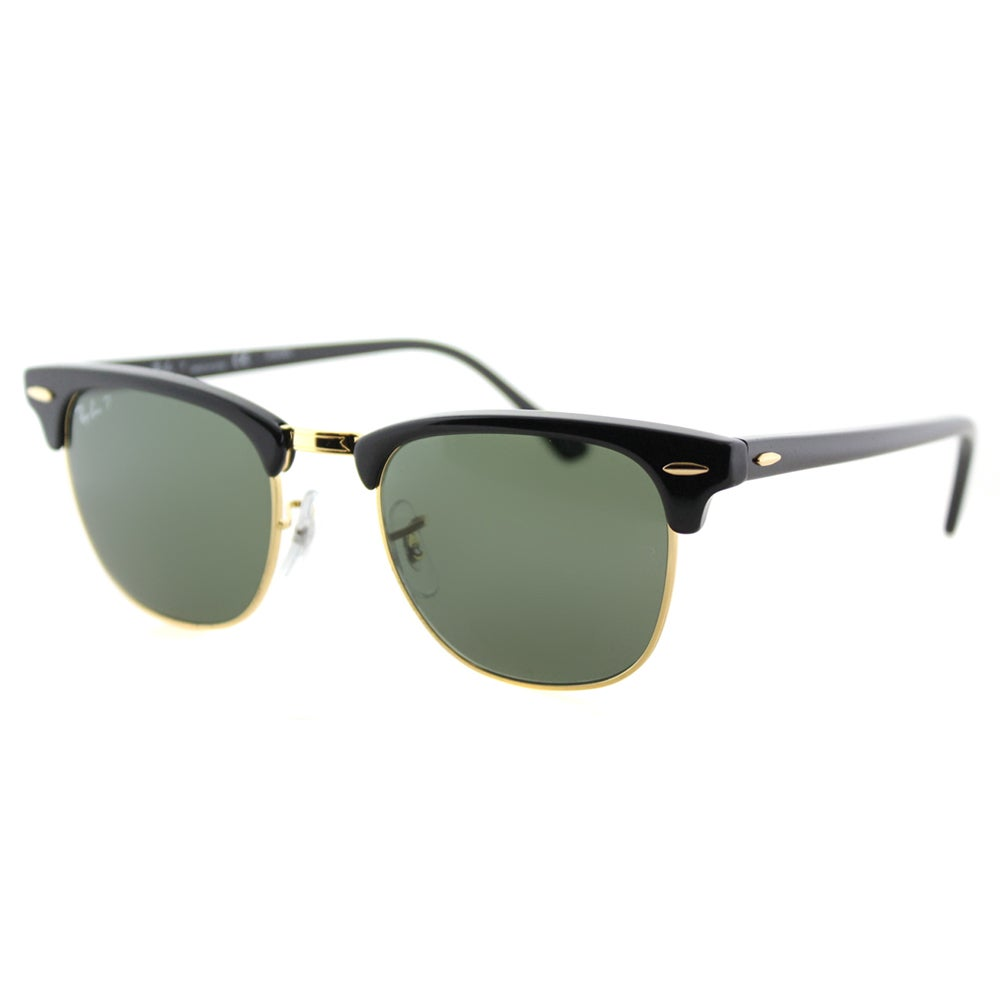 130af20ee48bbb Ray-Ban RB 3016 901 58 Black And Gold Plastic Clubmaster Green Polarized  Lens Sunglasses