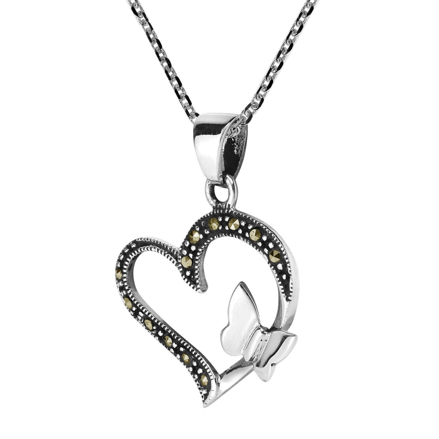 Handmade Butterfly Kiss Open Heart Marcasite .925 Silver Necklace ...
