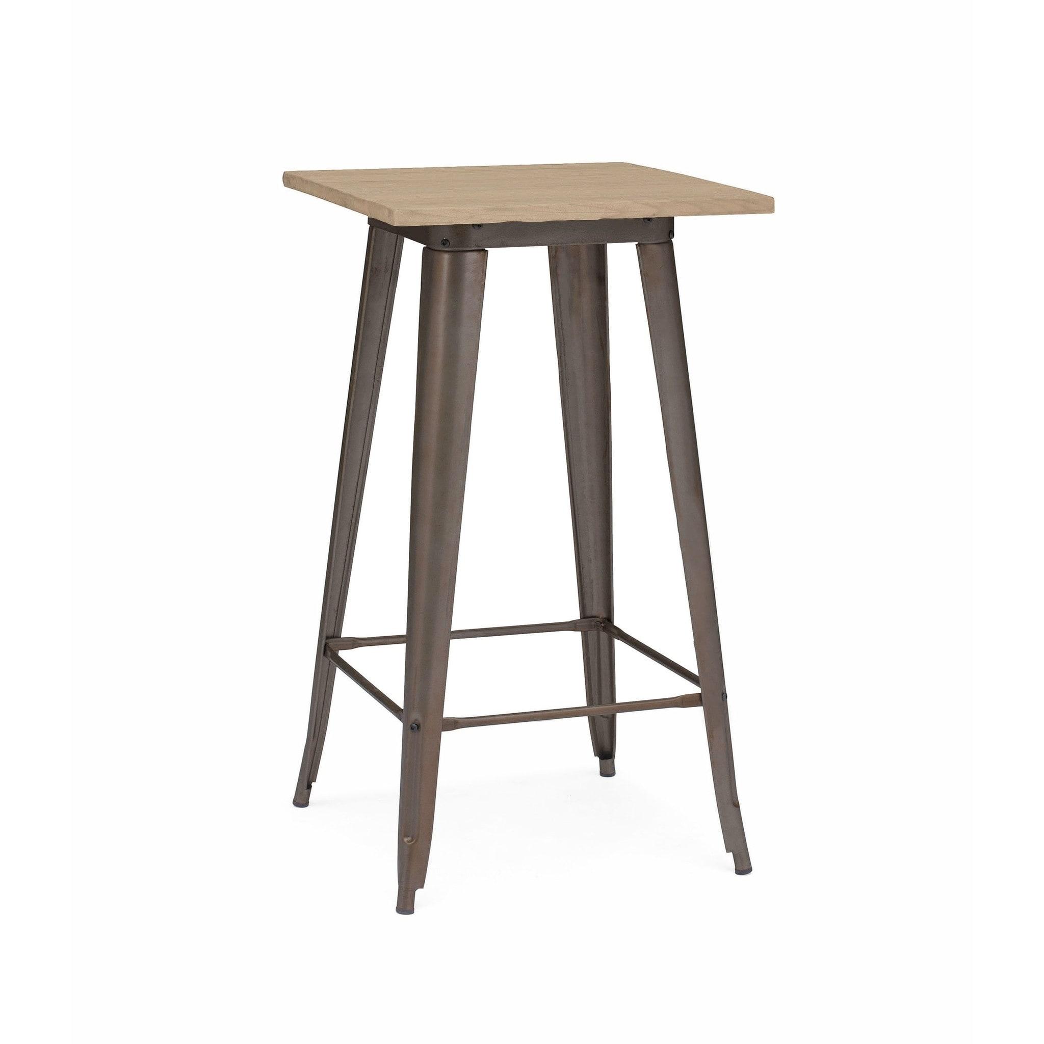 Amalfi rustic matte light elm wood top bar table 42 inch