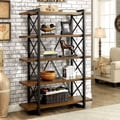 Furniture of America Collins Industrial Medium Weathered Oak 5-tier Display Shelf