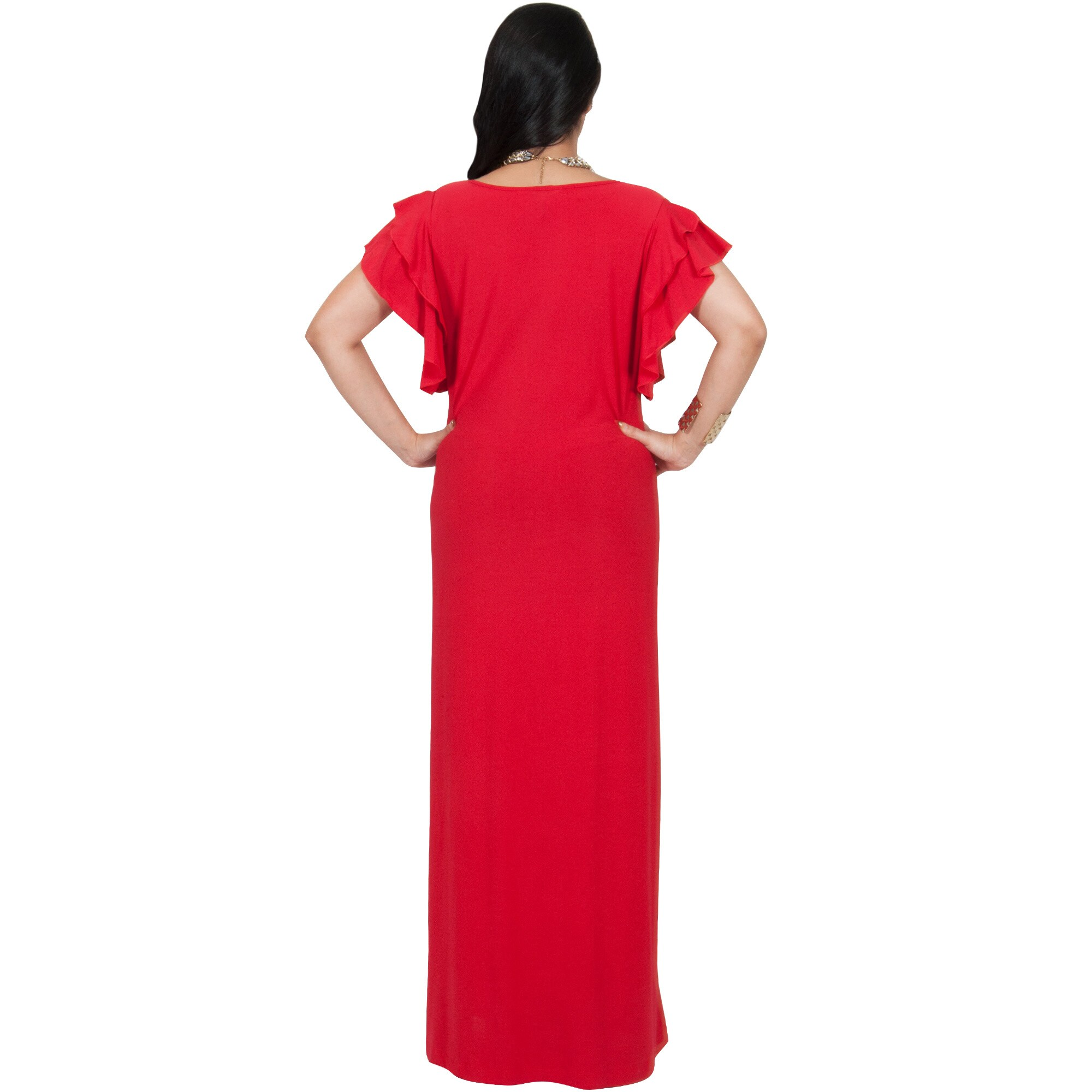 8facace85c28 Shop KOH KOH Women s Plus Size Cocktail Maxi Dress with Round Neck and  Ruffled Cap Sleeves - Free Shipping Today - Overstock - 11679668
