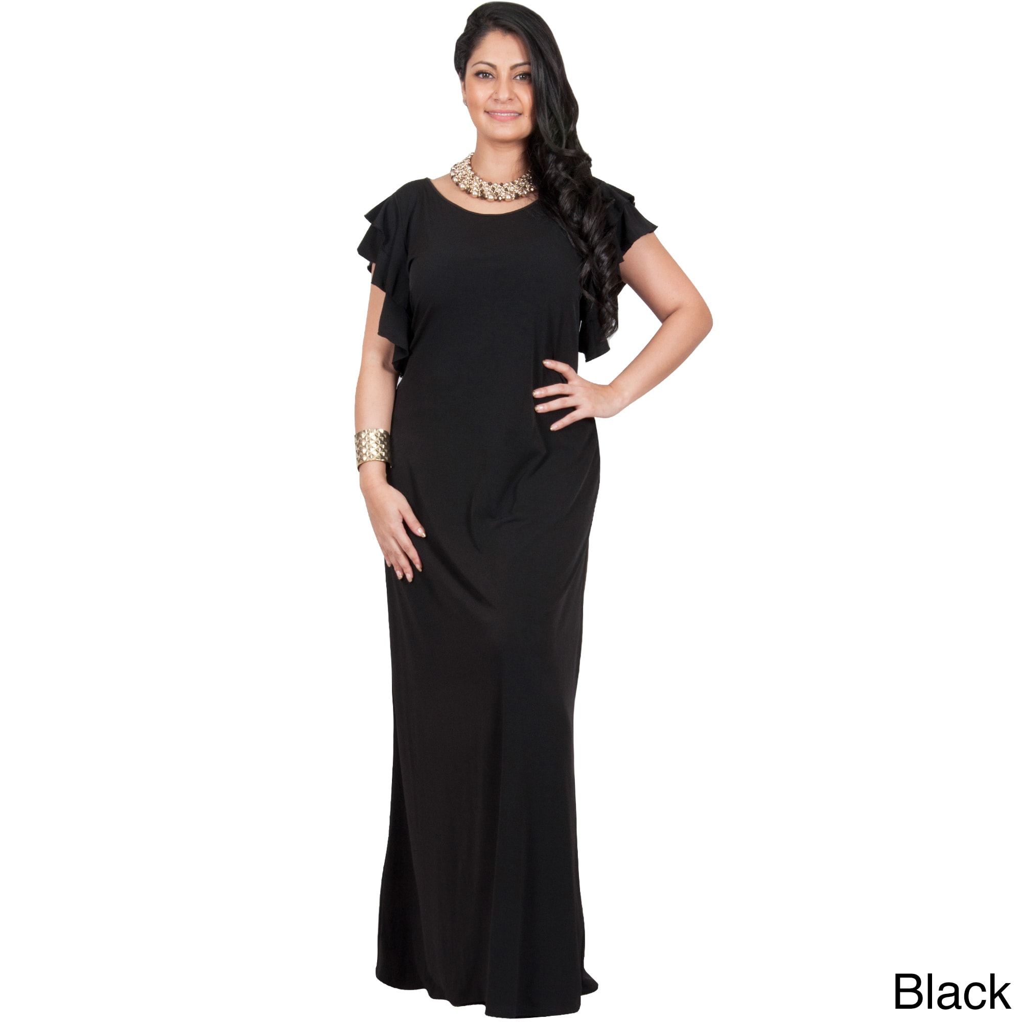 9238845c981b9 KOH KOH Women s Plus Size Cocktail Maxi Dress with Round Neck and Ruffled  Cap Sleeves