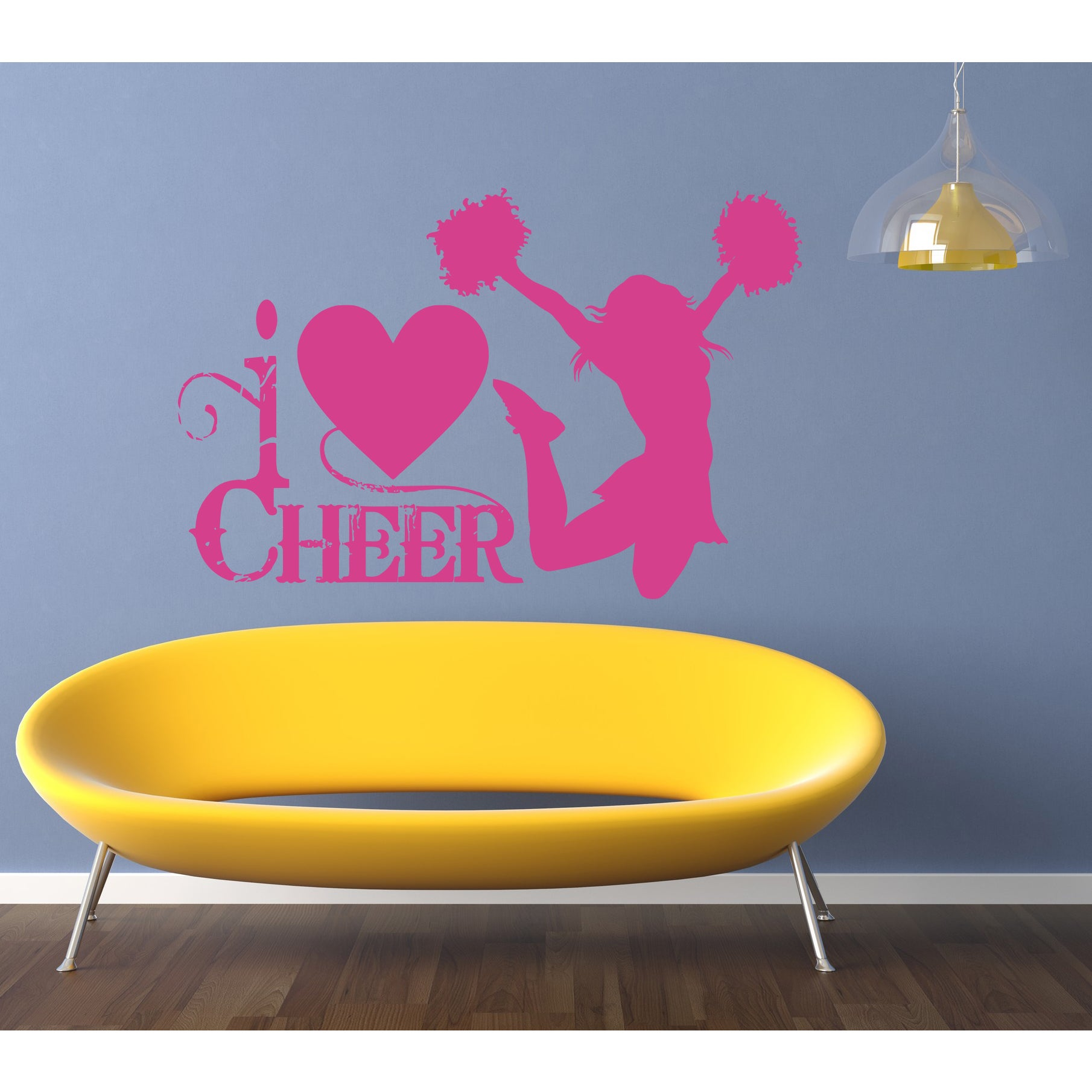 Cheerleader girl Wall Art Sticker Decal Pink - Free Shipping On ...
