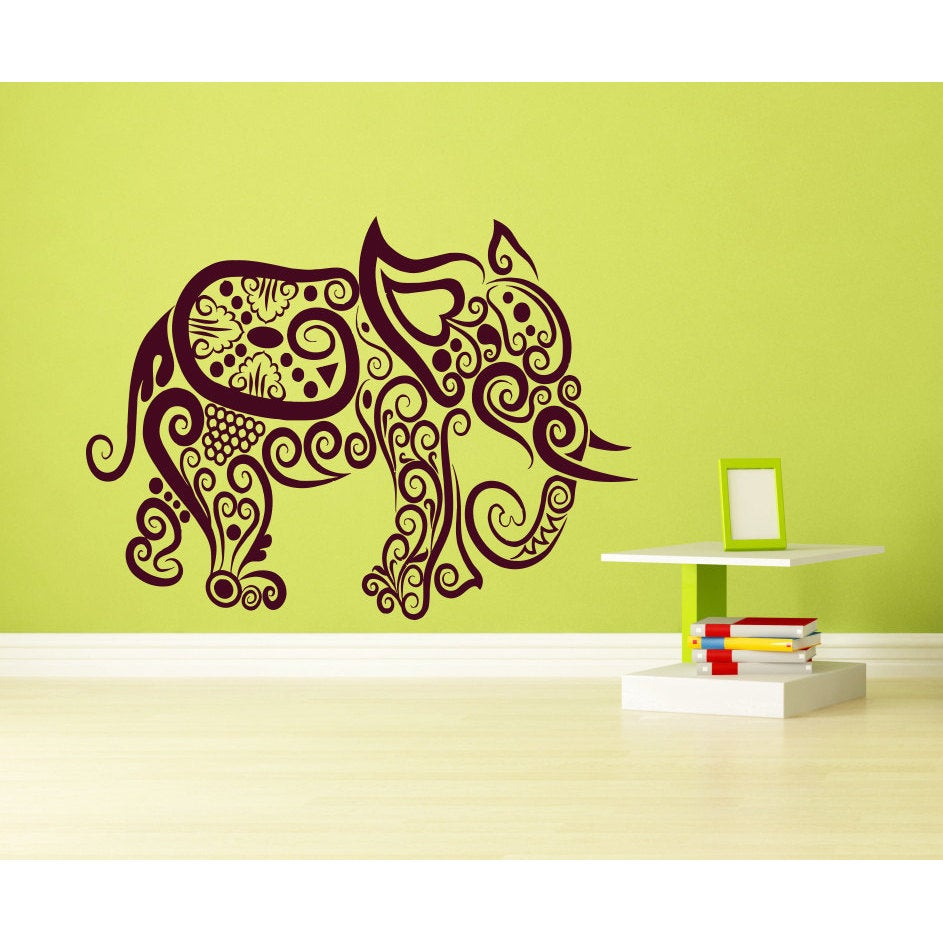 Indian Buddhism mantra elephant Wall Art Sticker Decal Brown - Free ...