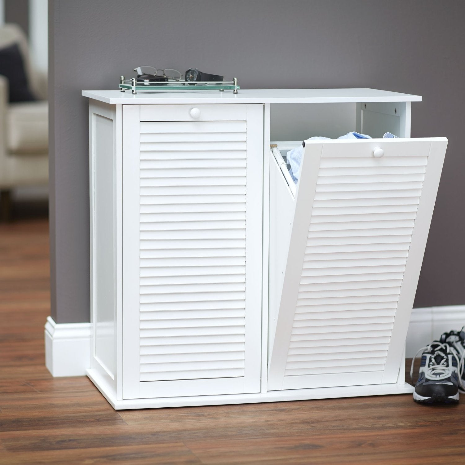Household Essentials White Shutter Front Tilt Out Cabinet Laundry Sorter Free Shipping Today 11684919