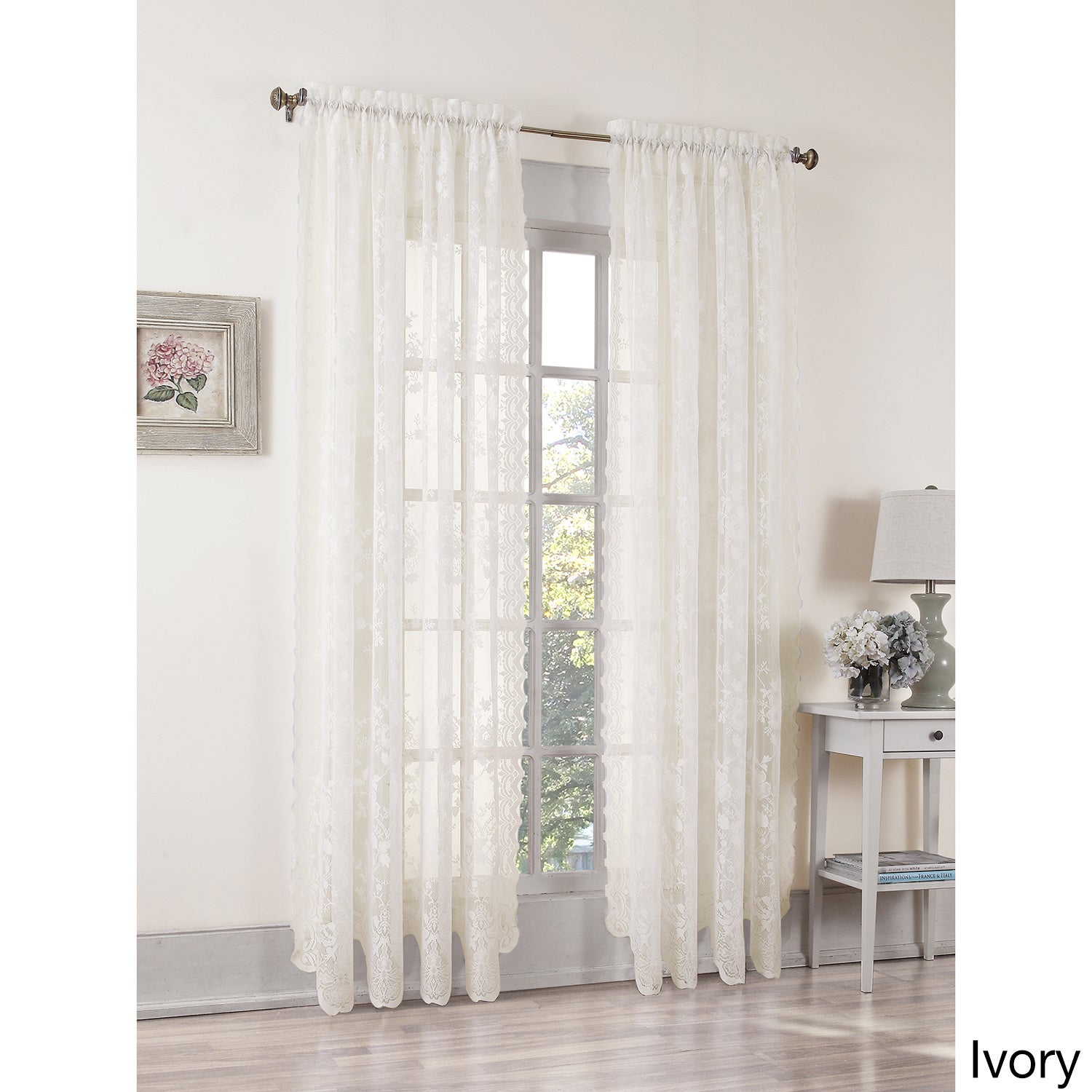 No 918 Alison Rod Pocket Lace Window Curtain Panel Free Shipping On Orders Over 45 11686991