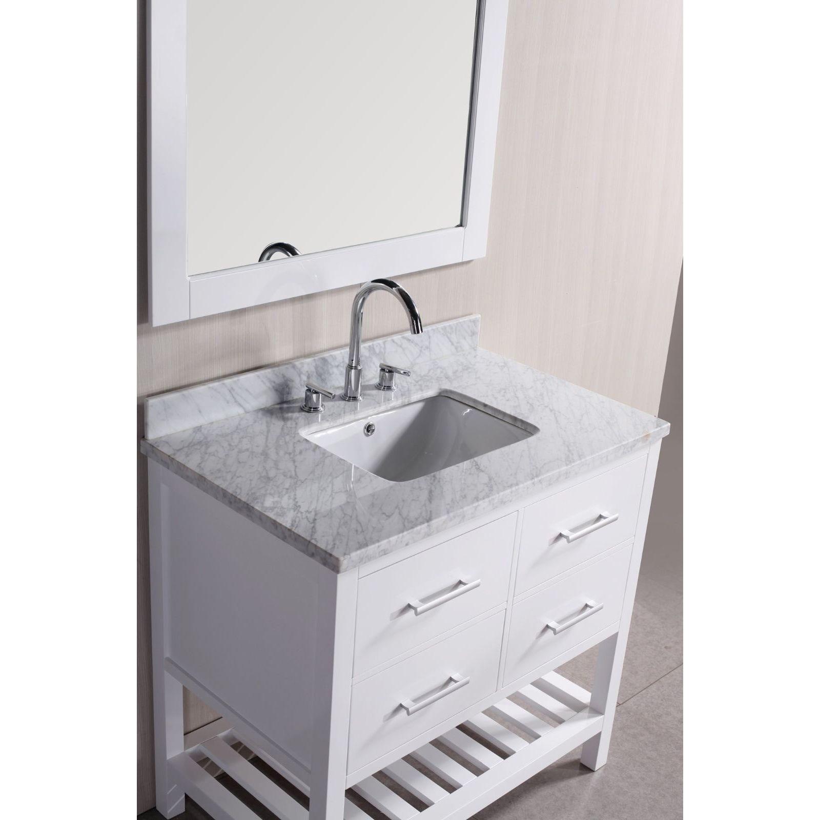 Shop 30-inch Belvedere Bathroom Vanity with Marble Top - Free ...