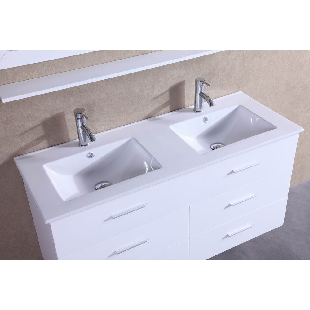 Belvedere 48-inch Contemporary White Wall Floating Bathroom Double ...