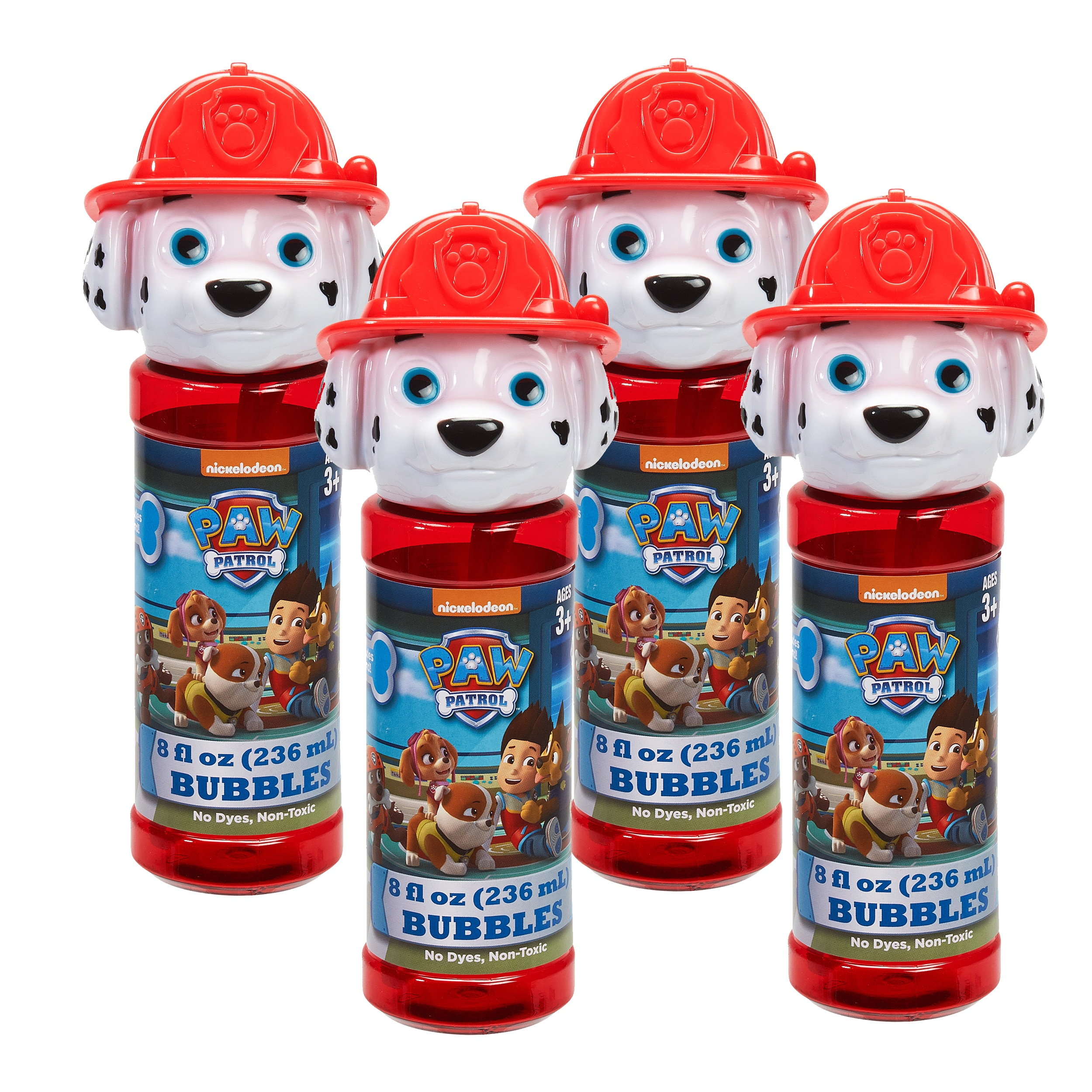 Little Kids Paw Patrol 4 Piece Bubble Heads With Wand