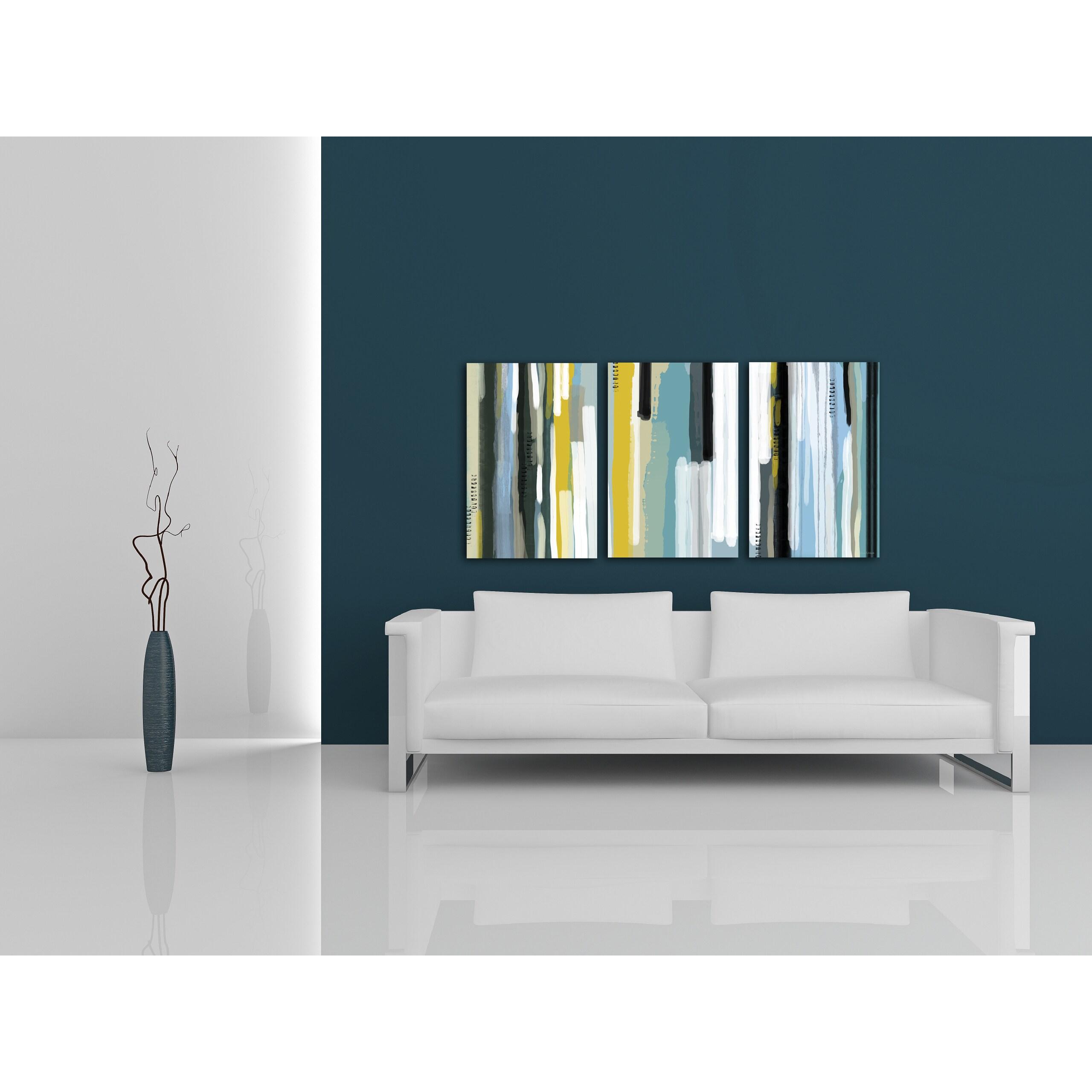 Maxwell Dickson Ocean Triptych Modern Canvas Wall Art