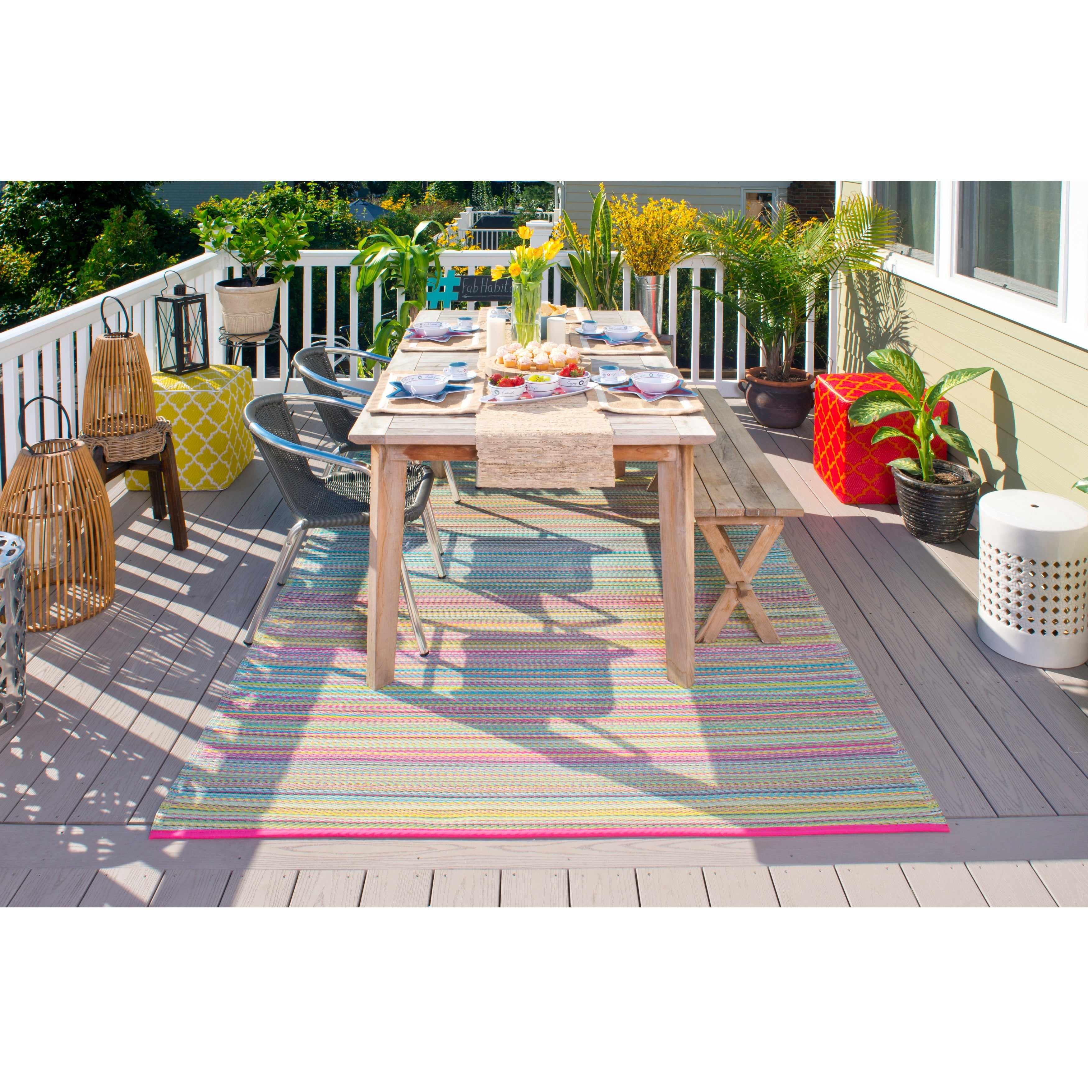 Fab Habitat Indoor Outdoor Cancun Candy Rug Free Shipping Today