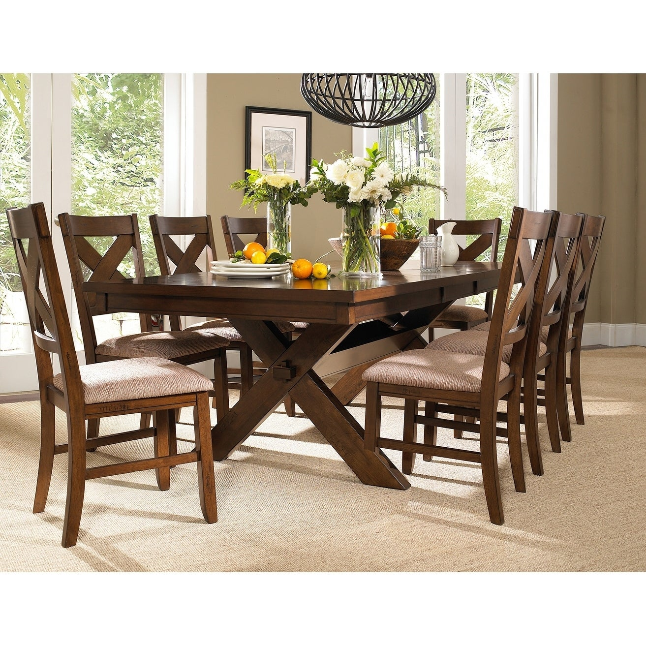 Beautiful Shop 9 Piece Solid Wood Dining Set With Table And 8 Chairs   Free Shipping  Today   Overstock.com   11691458
