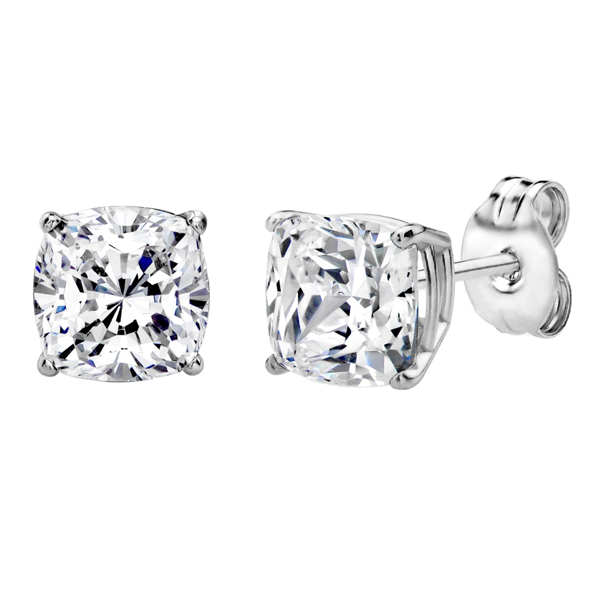 8561fcd62 Sterling Silver 2 CTtw 6mm Cushion-cut Stud Earrings Made with Swarovski  Zirconia