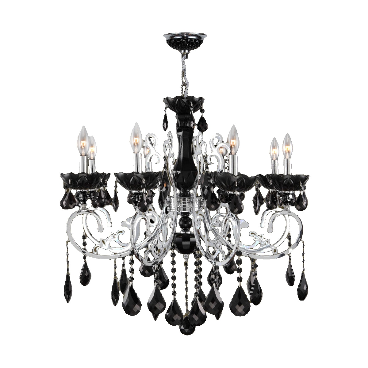 black crystal lighting. French Scroll Collection 8-light Chrome Finish And Black Crystal Chandelier - Free Shipping Today Overstock 18618001 Lighting C