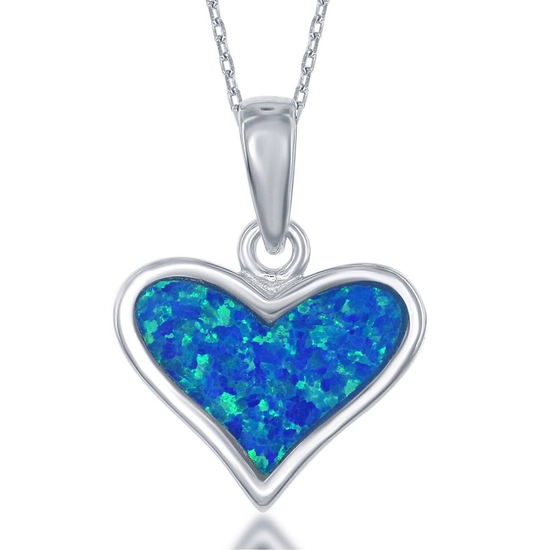 La preciosa sterling silver created blue opal heart pendant free la preciosa sterling silver created blue opal heart pendant free shipping on orders over 45 overstock 18620482 aloadofball Gallery