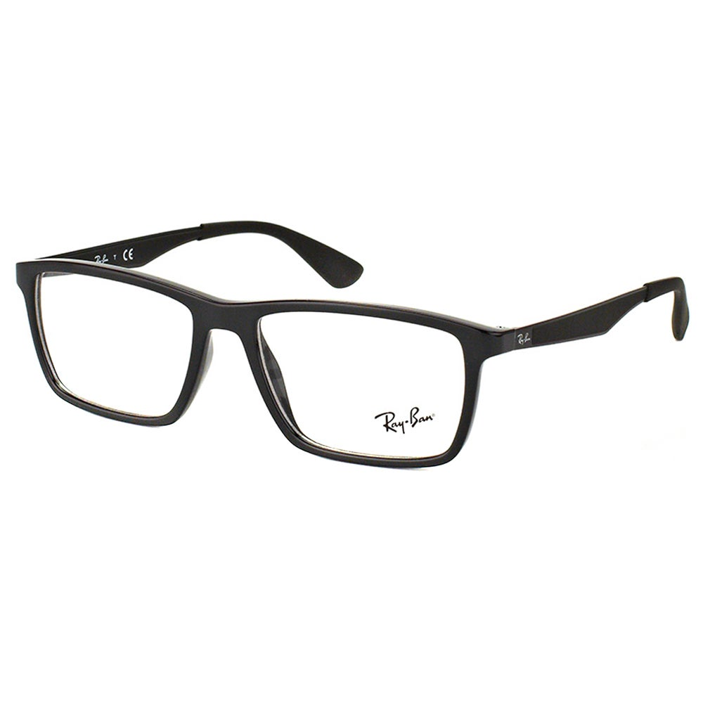 e81dd71f04 Ray-Ban RX 7056 2000 Shiny Black Plastic Rectangle 55mm Eyeglasses
