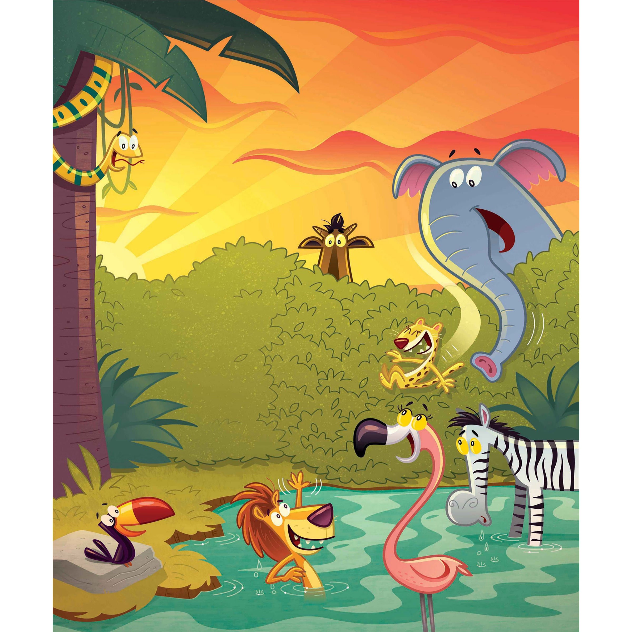 Shop Marmont Hill \'Happy Jungle\' by Curtis Painting Print on Canvas ...