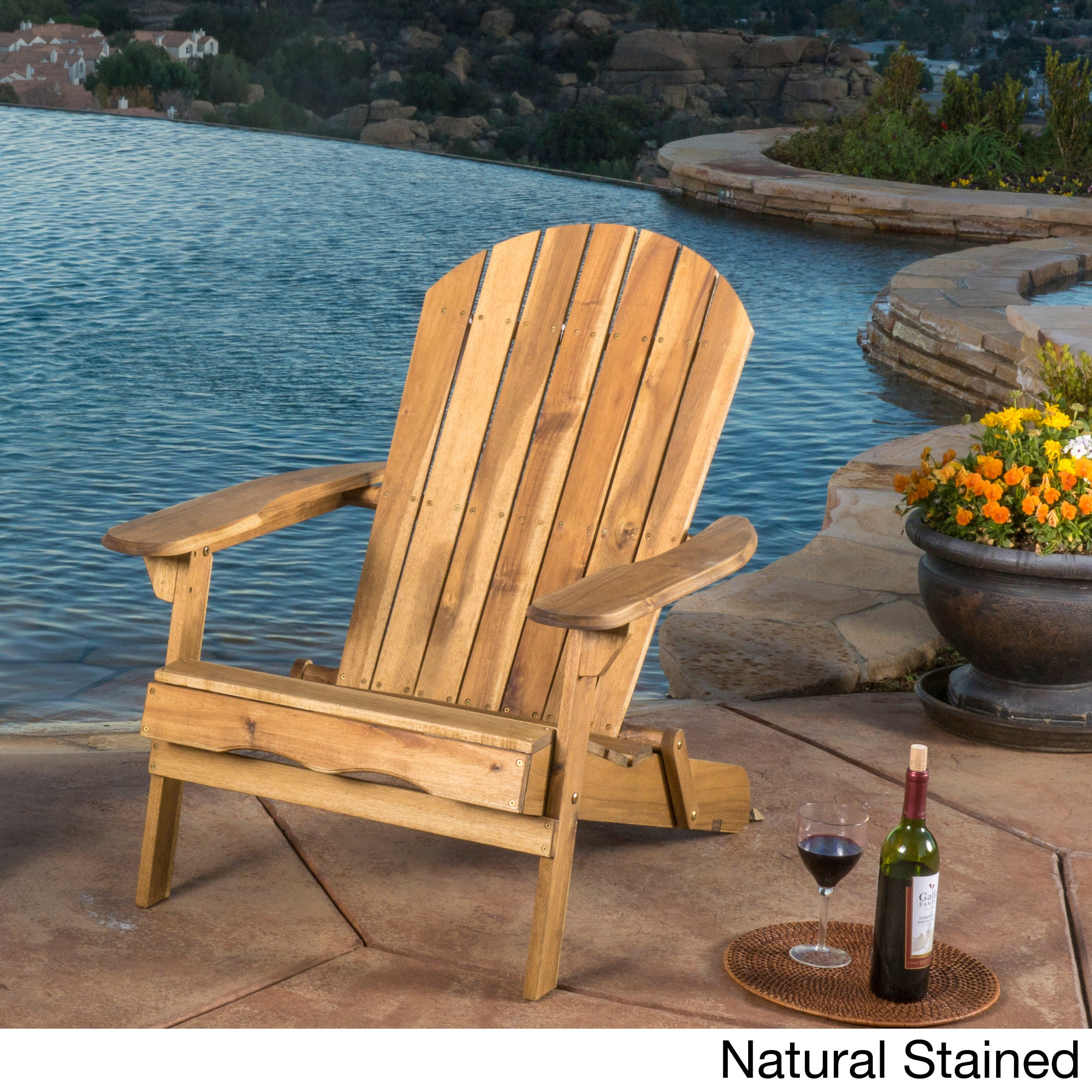 Hanlee Outdoor Folding Wood Adirondack Chair by Christopher Knight