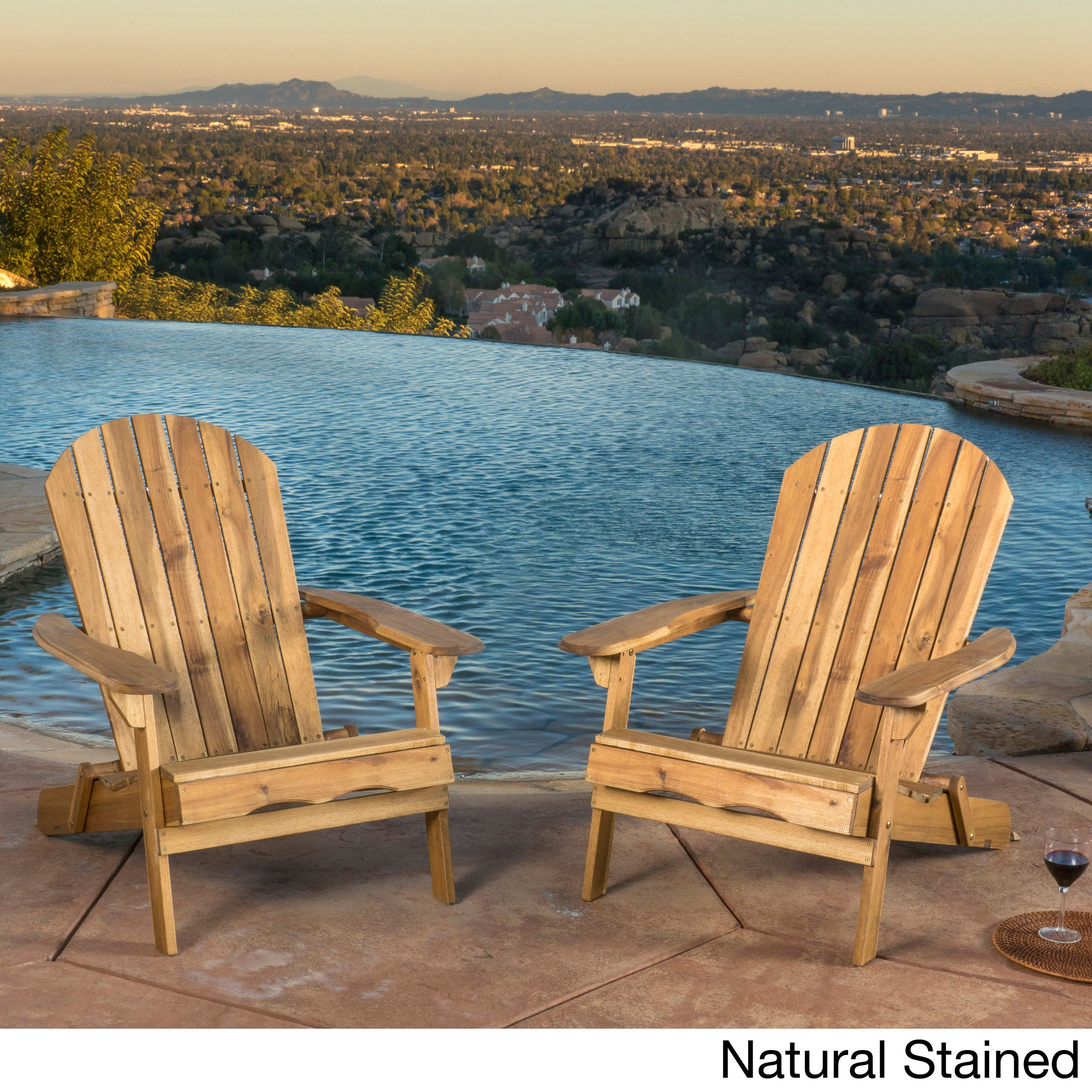 Hanlee Outdoor Folding Wood Adirondack Chair Set of 2 by