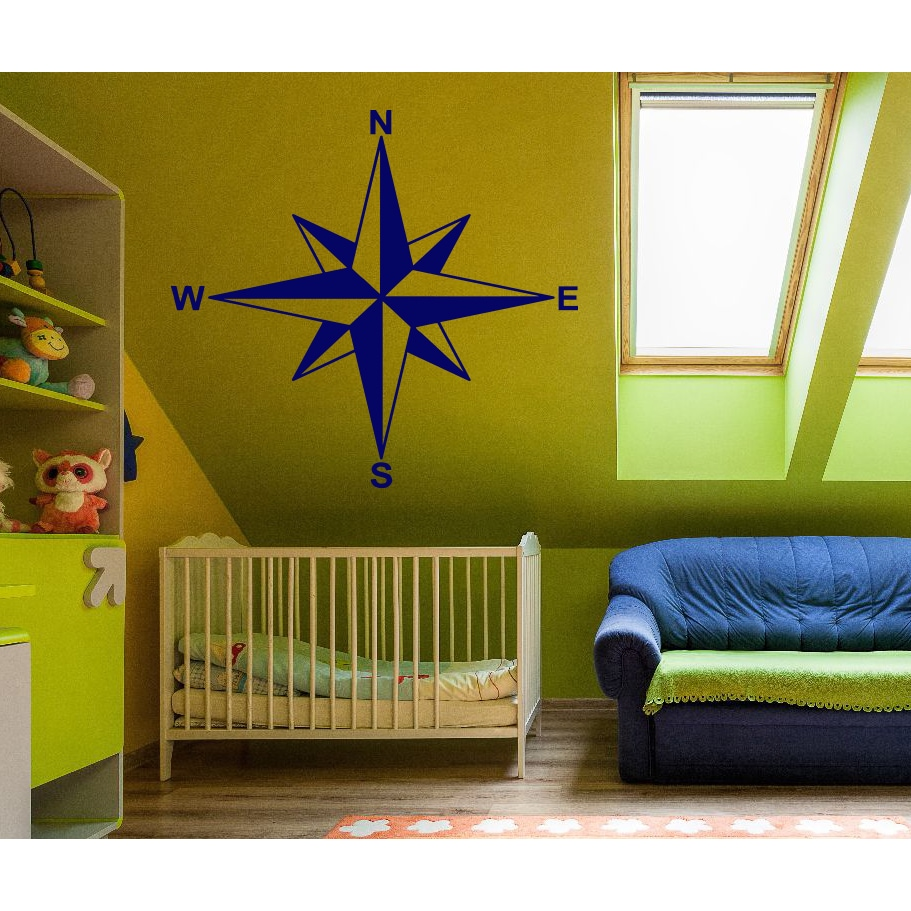 Shop Compass North West South East Wall Art Sticker Decal Blue ...