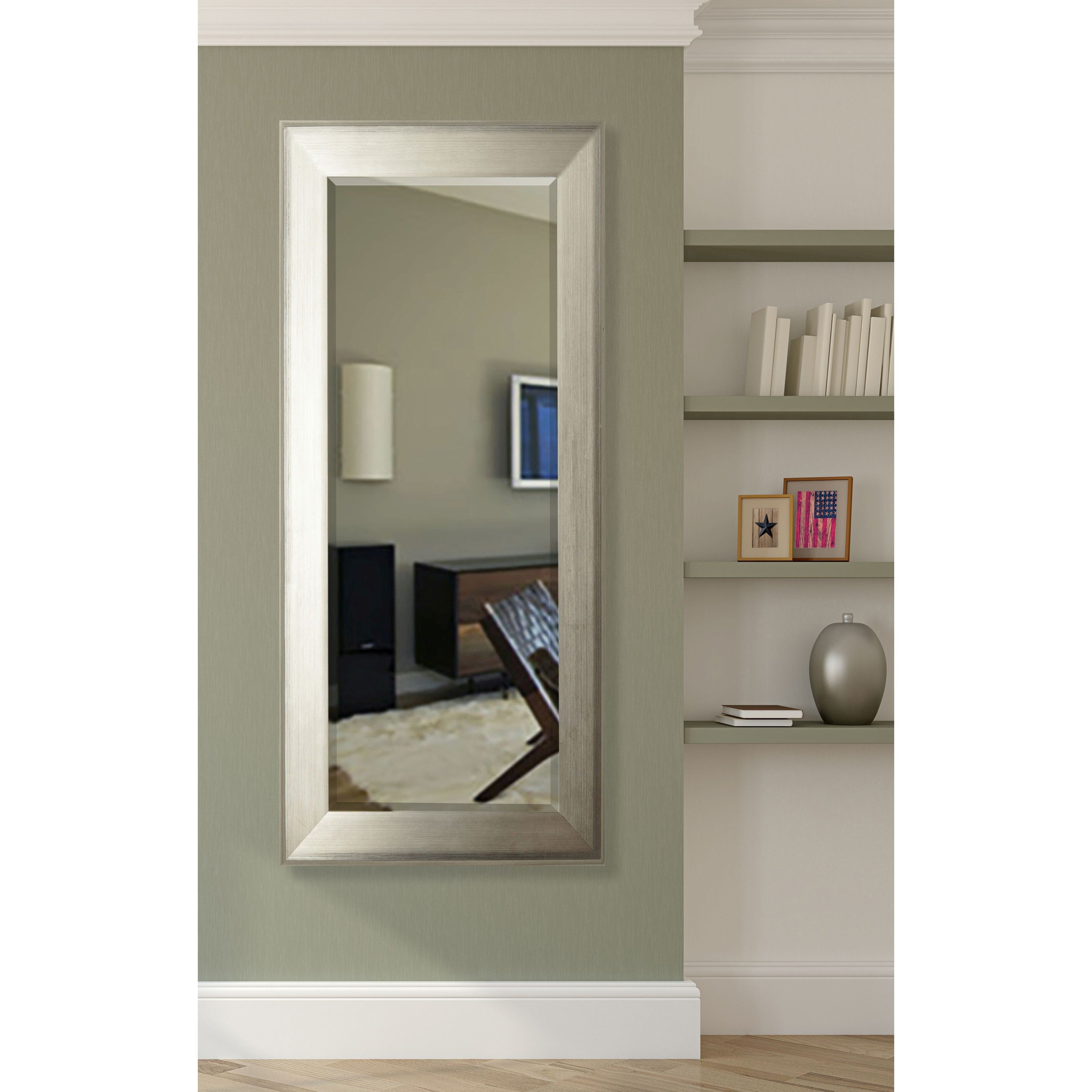 American Made Rayne Brushed Silver Extra Tall Floor Mirror - Antique ...