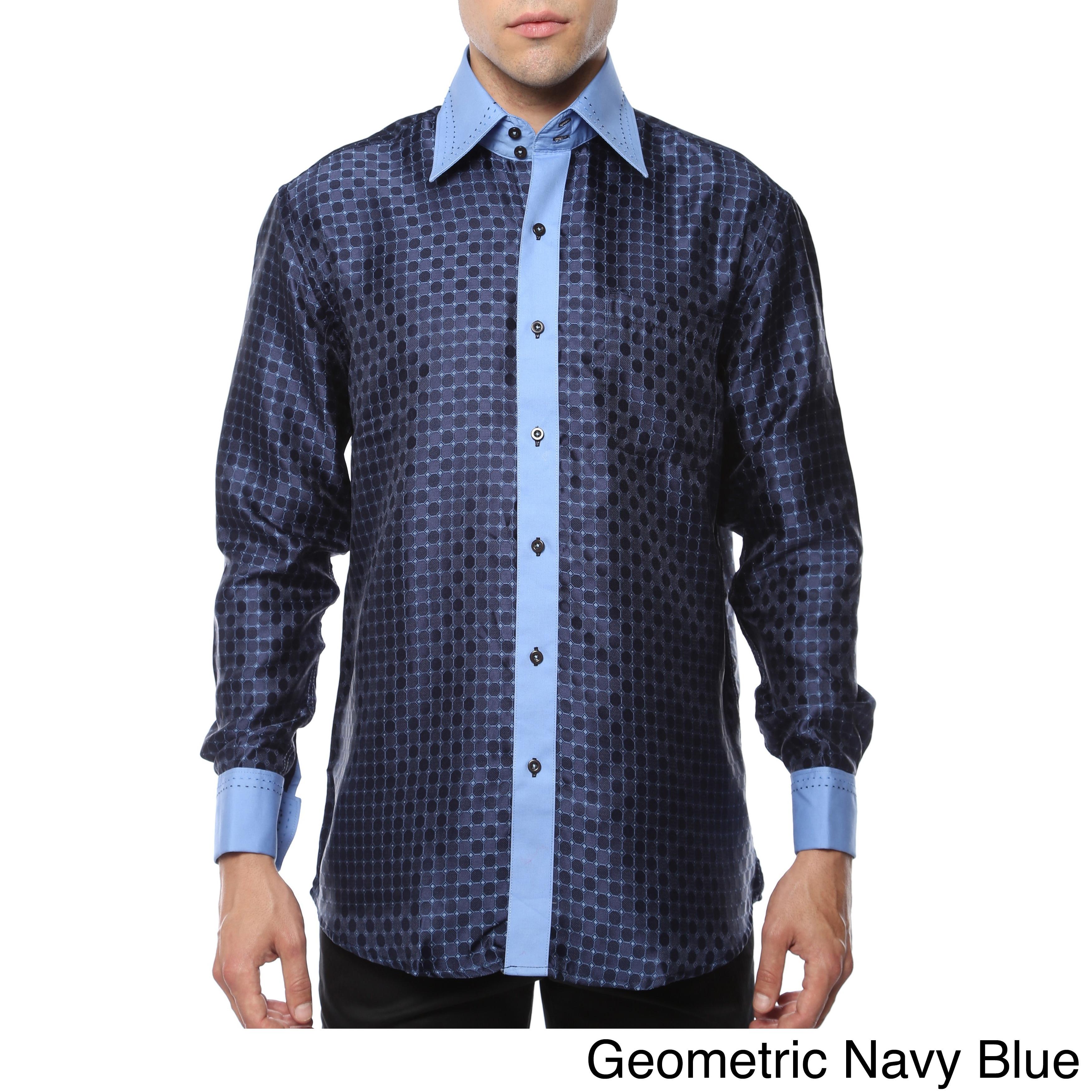 fa6b85af98b4b6 Shop Ferrecci Men s Satine Paisley or Geometric Satine Microfiber Dress  Shirt - Free Shipping On Orders Over  45 - Overstock - 11708138