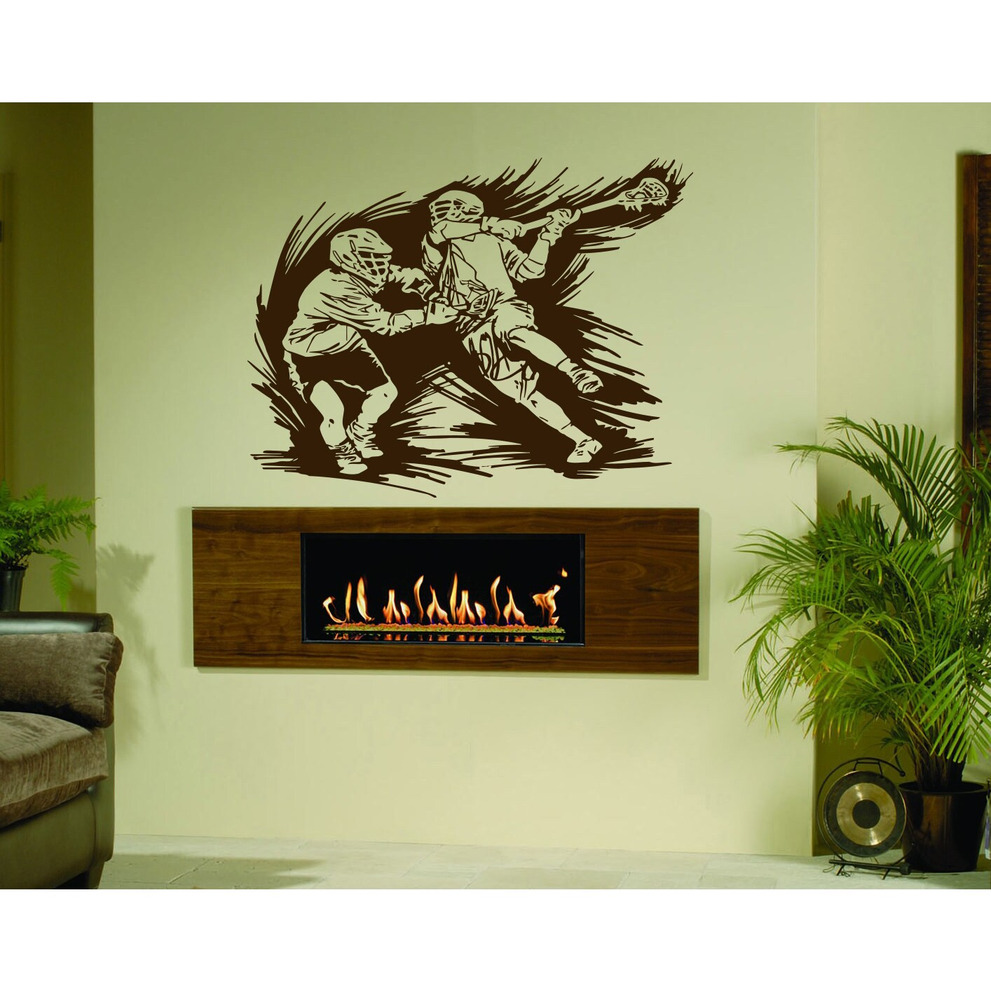 Sport lacrosse Wall Art Sticker Decal Brown - Free Shipping On ...