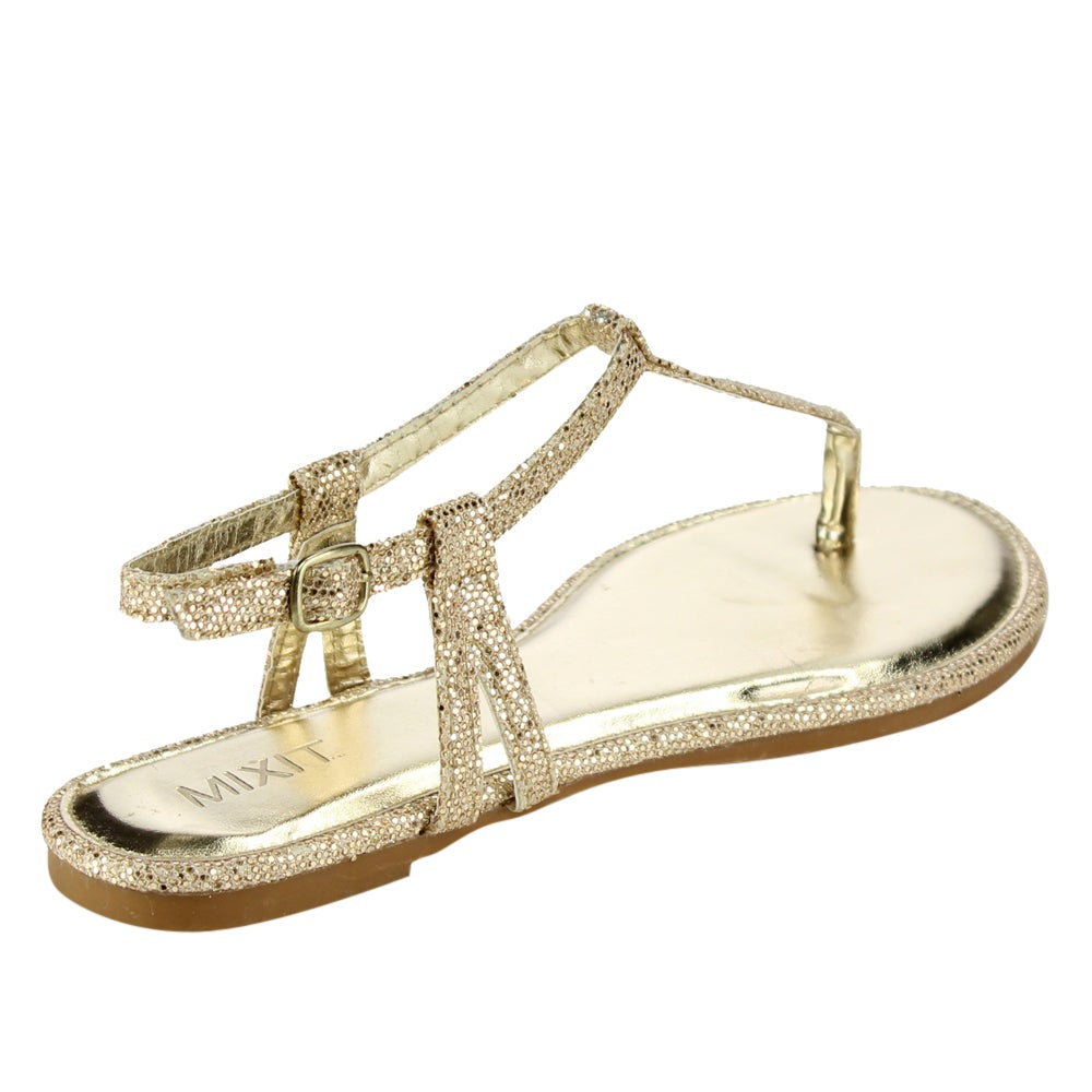 a452616d0b00e Shop Mixit T-strap Glitter Thong Sandals - Free Shipping On Orders Over  45  - Overstock - 11710594