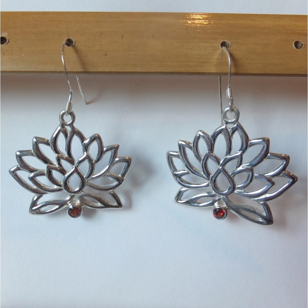 Shop Handmade Spirit Sterling Silver Garnet Lotus Flower Dangle