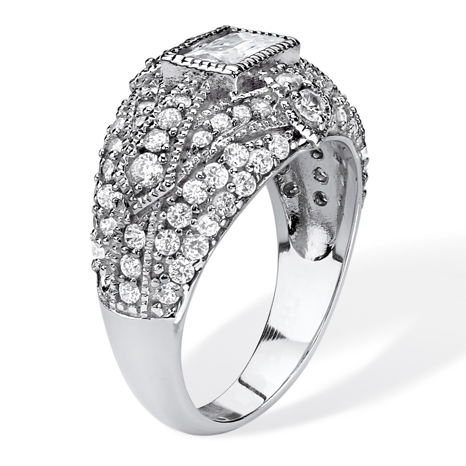 Platinum over Sterling Silver Cubic Zirconia Ring White Free