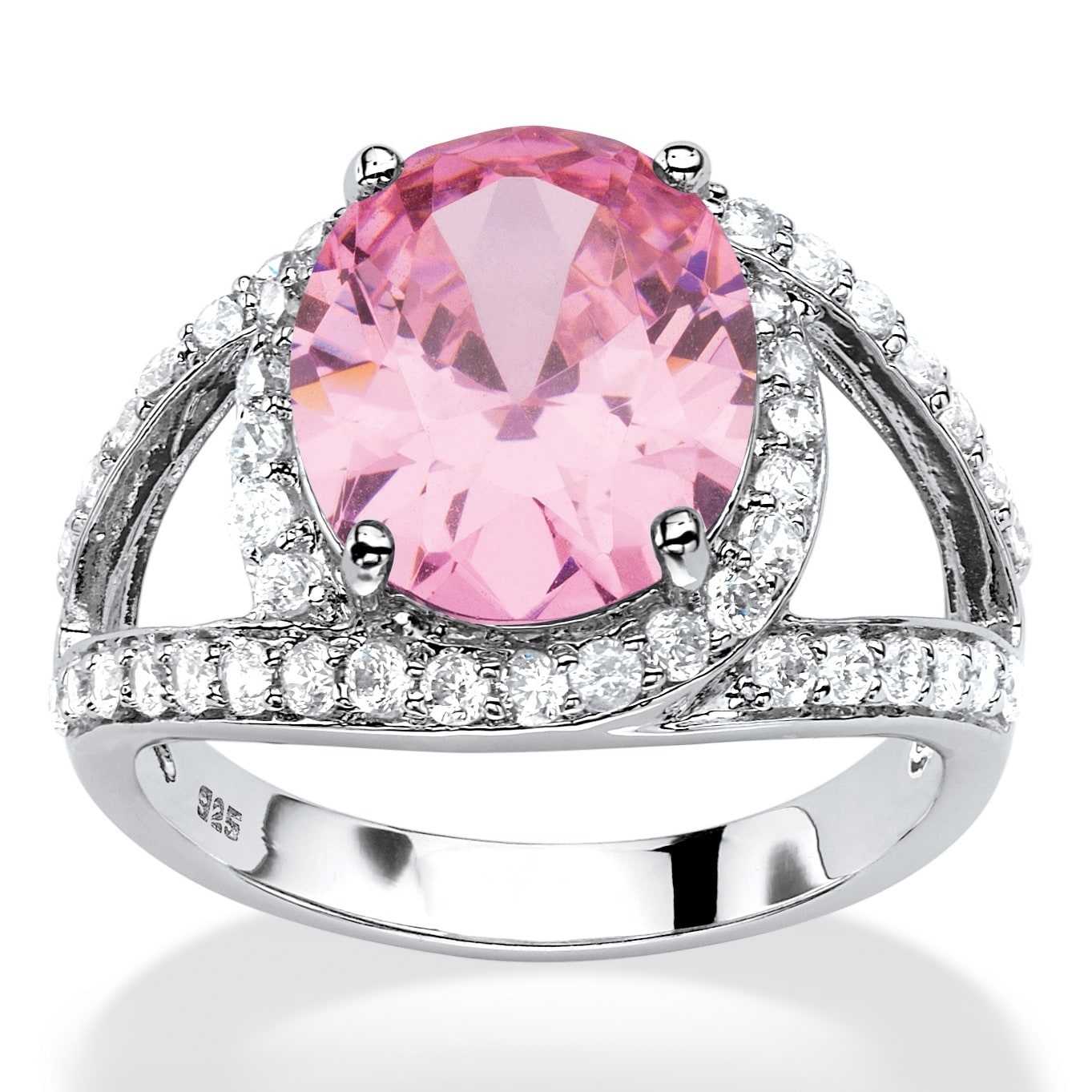 Platinum over Sterling Silver Pink Cubic Zirconia Ring /White - Free ...