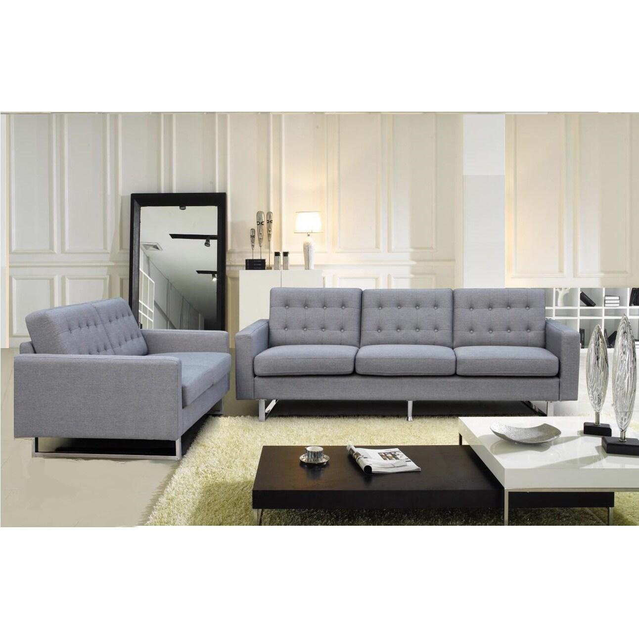 Mid Century Modern Benava Fabric Sofa And Loveseat Set On Free Shipping Today 11711704
