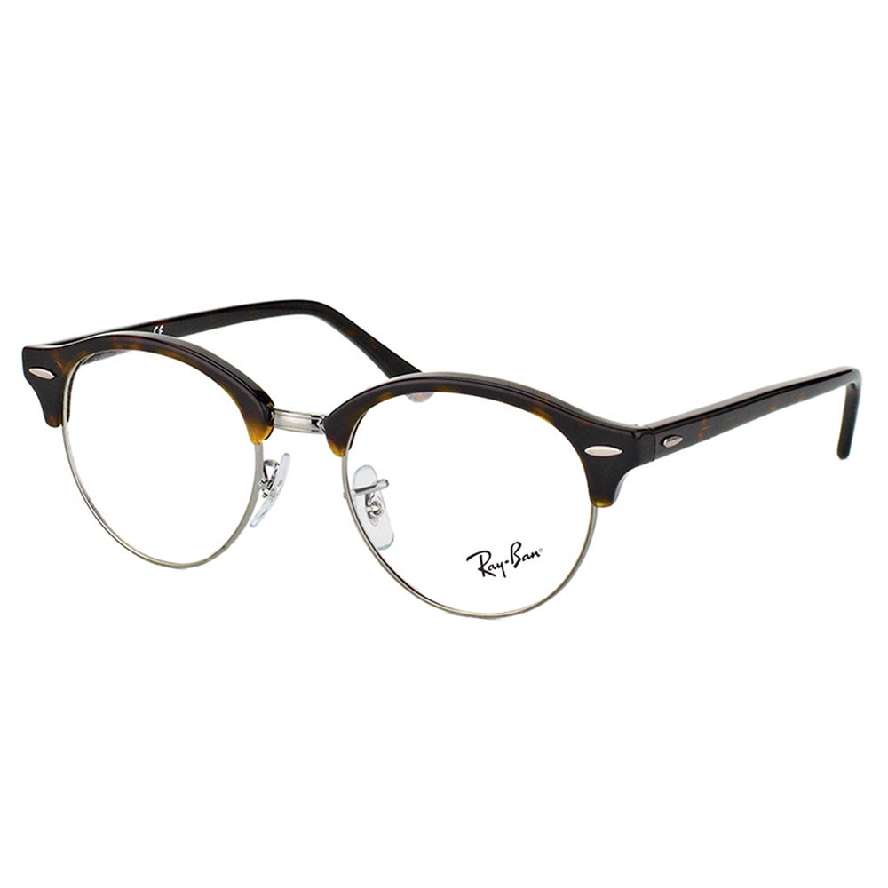 5115a4f209 Ray-Ban RX 4246V 2012 Clubround Dark Havana And Silver Plastic Clubmaster  49mm Eyeglasses