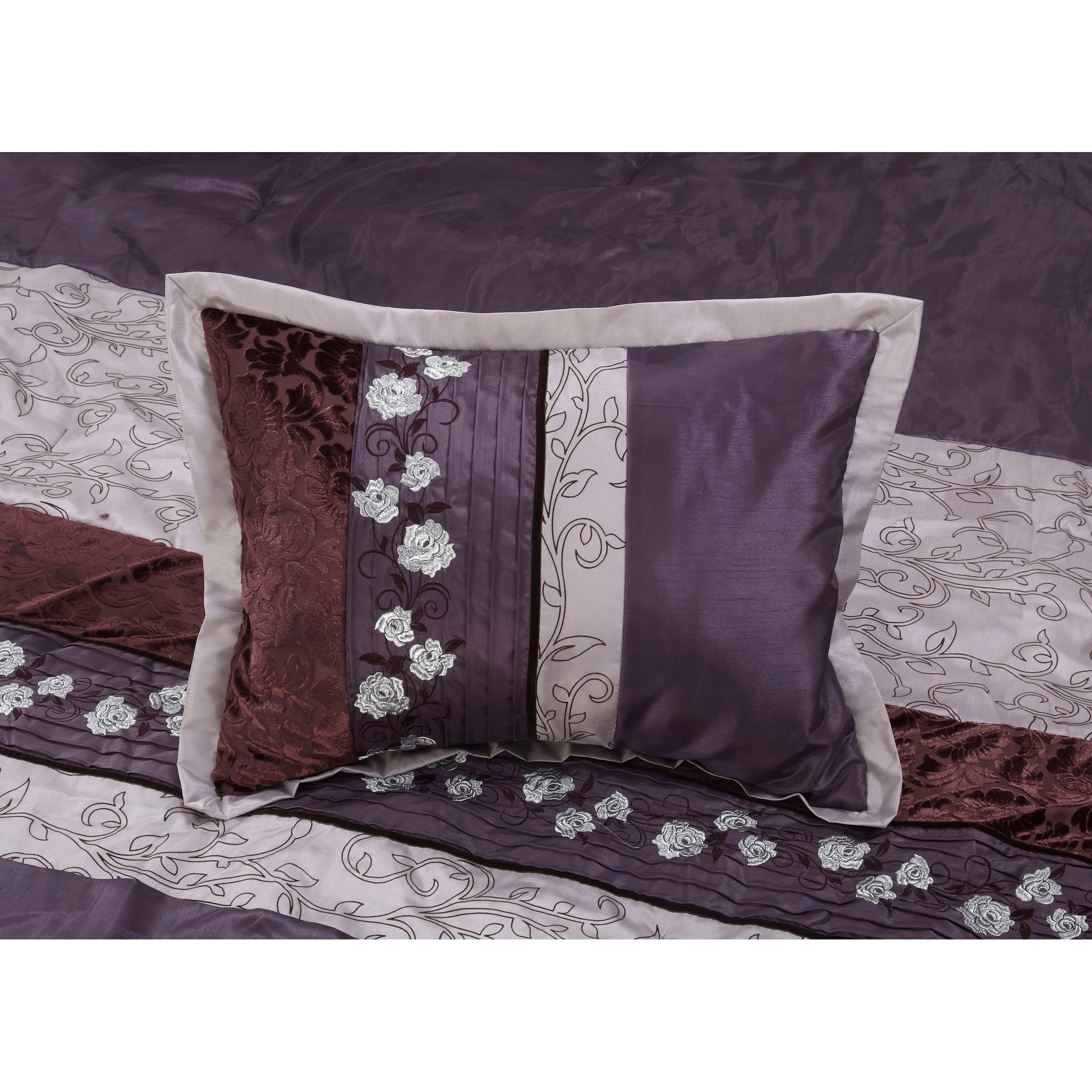 bath bedding set piece free intelligent overstock product shipping purple design mikay today comforter