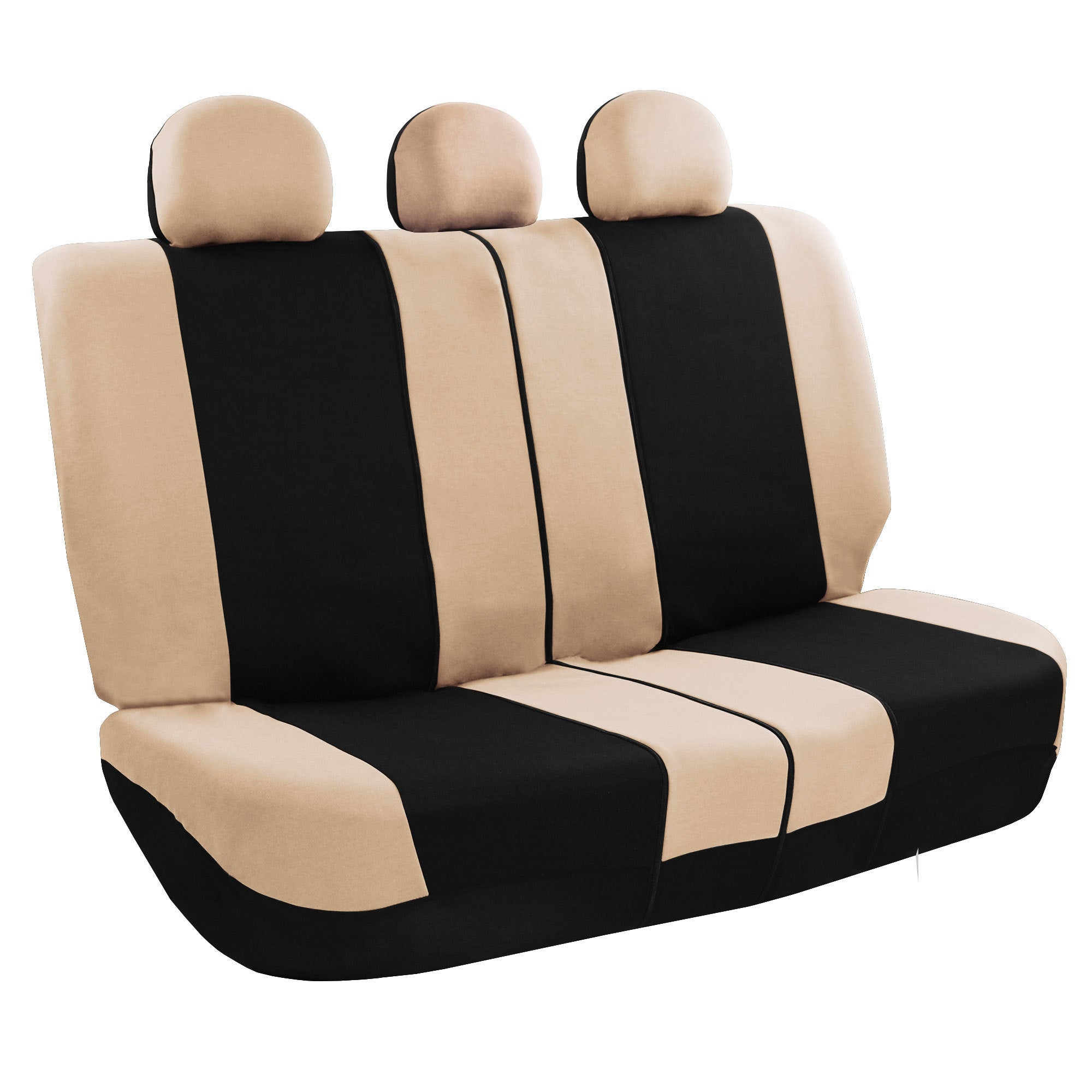 FH Group Beige And Black Combo Pack Fabric Auto Seat Covers Full Set