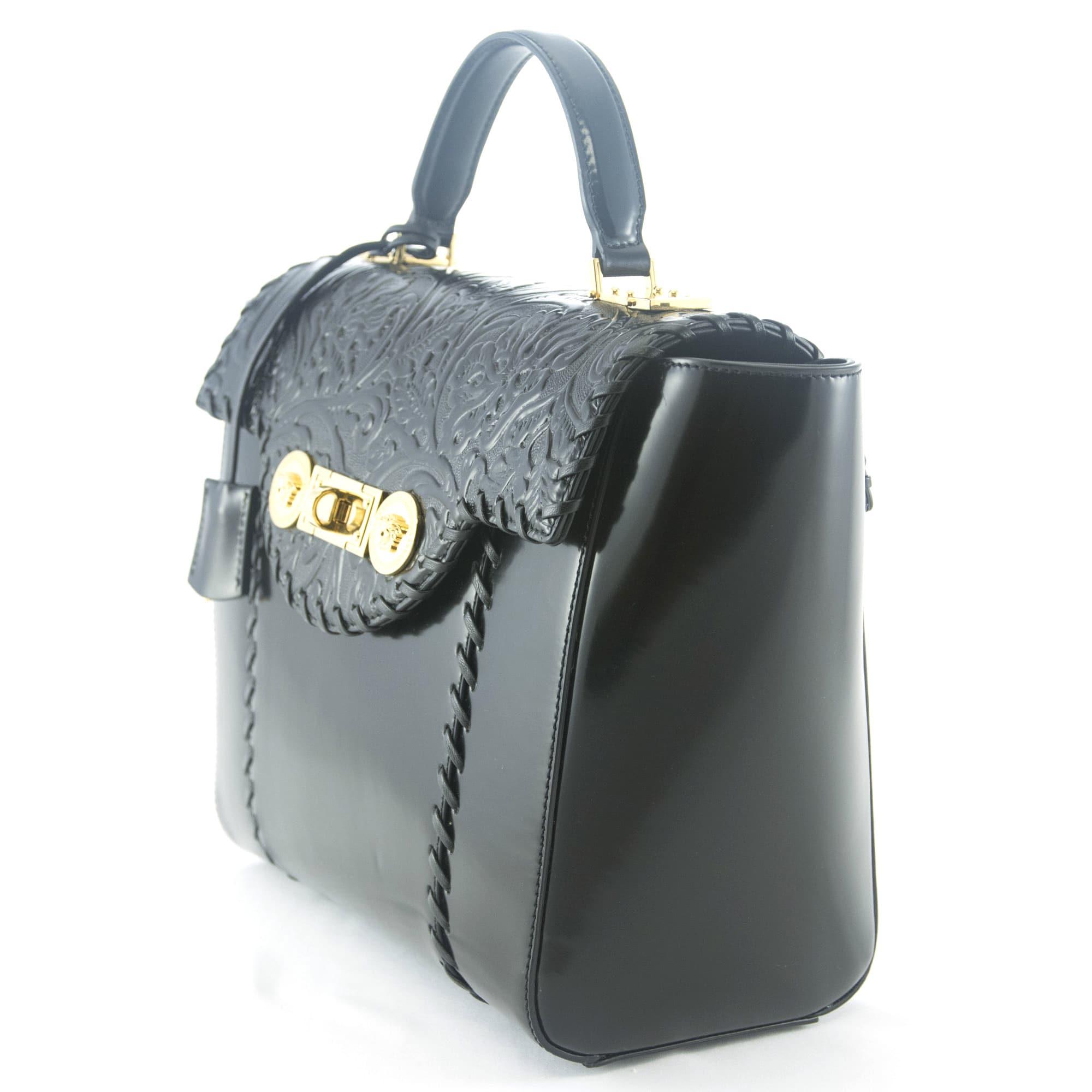 5c2325132918 ... Shop Versace Signature Lock Leather Handbag - Free Shipping Today -  Overstock.com - 11717086 ...