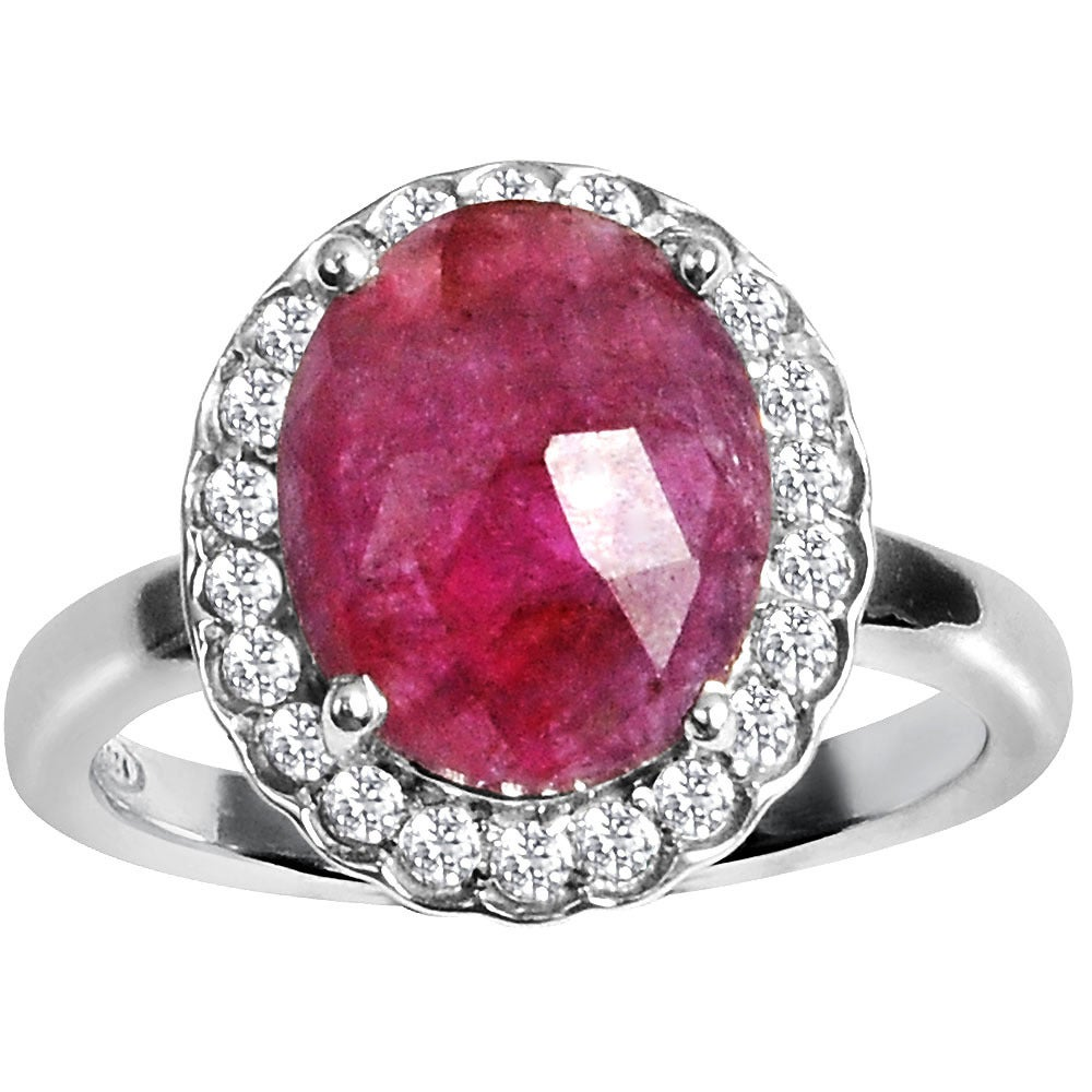 Orchid Jewelry 925 Sterling Silver Ring 4.50ct TGW Genuine Ruby ...