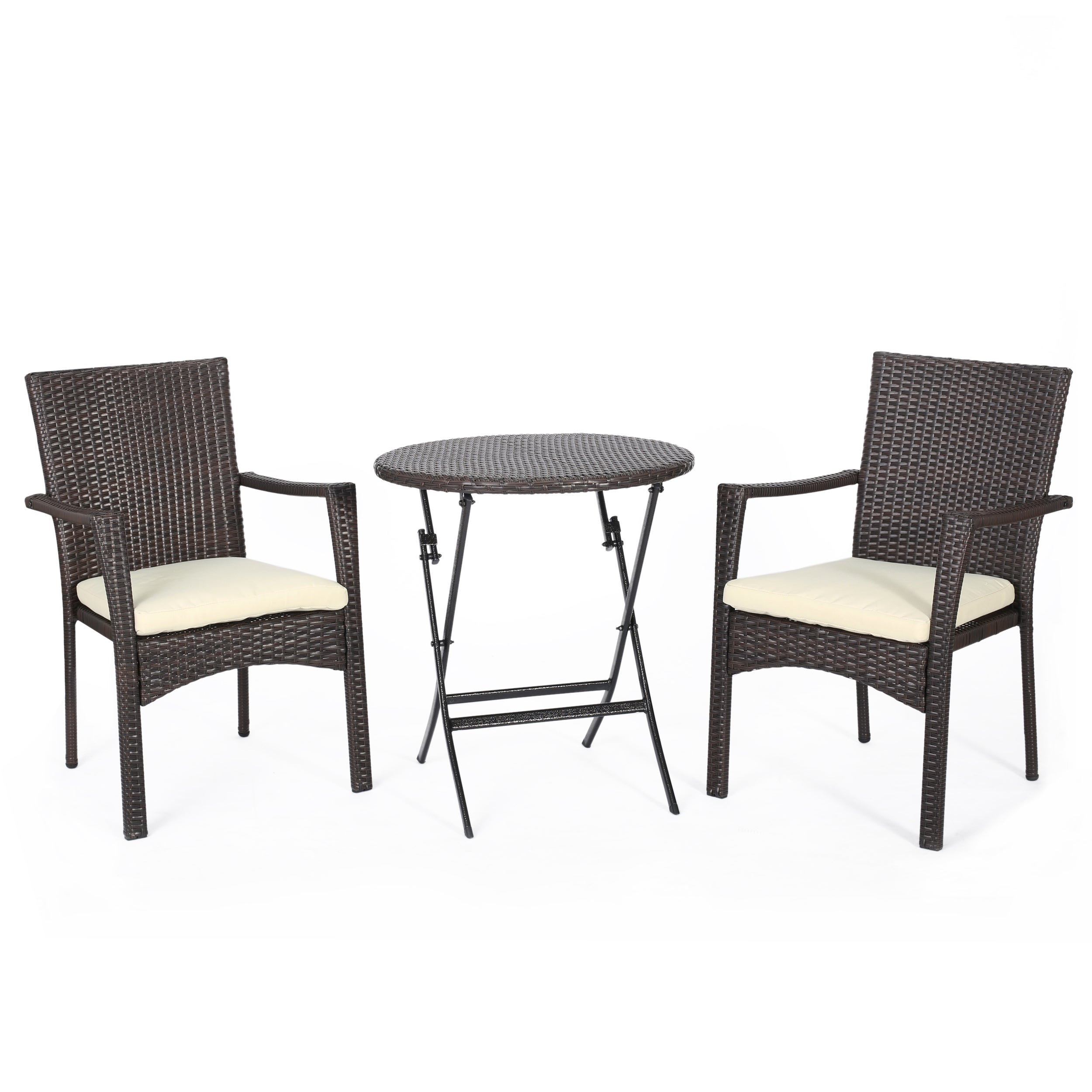 Elba Outdoor 3-piece Wicker Bistro Set with Cushions by ...