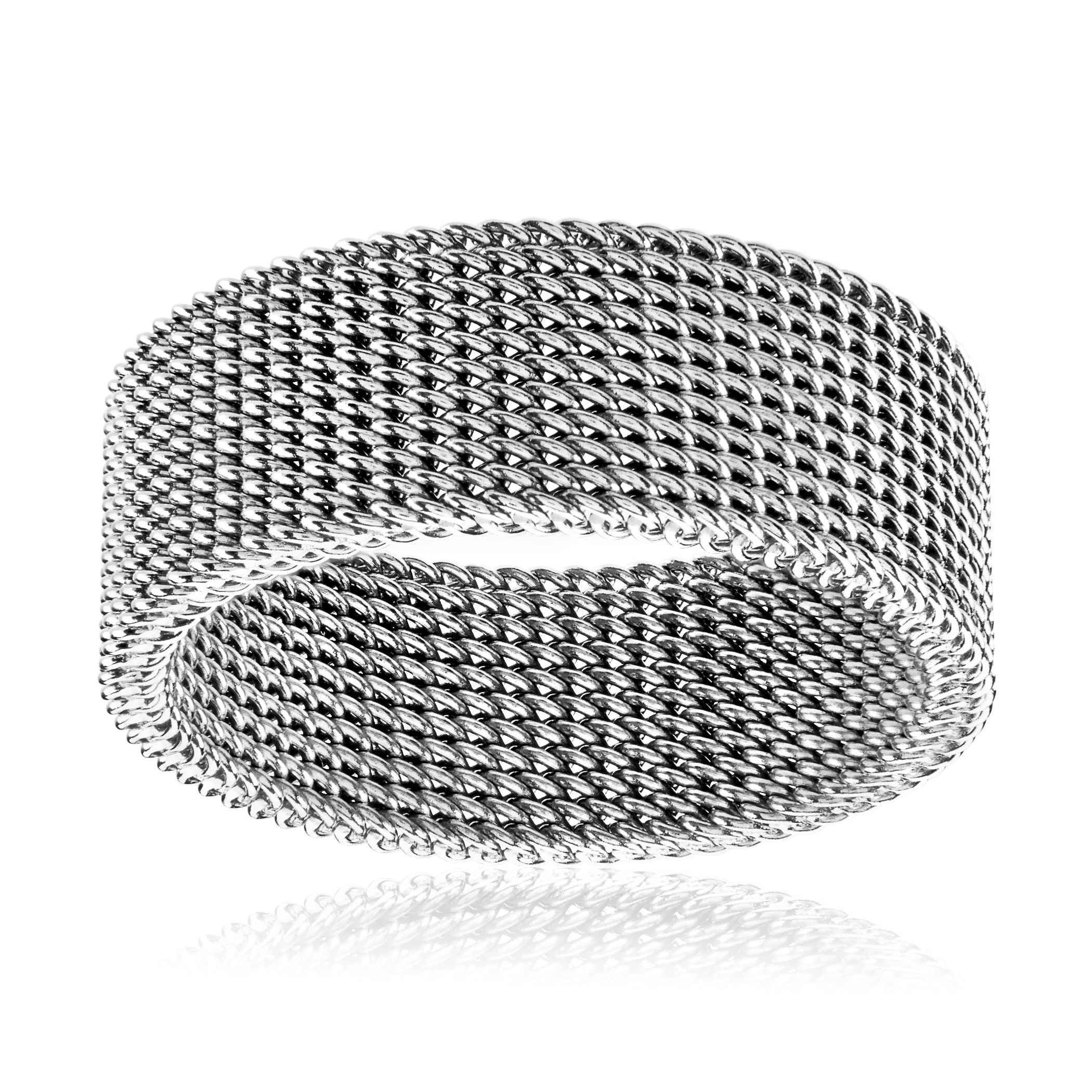 afd10b8e8 Shop Men's Polished Stainless Steel Mesh Flexible Ring - 8mm Wide - White -  Free Shipping On Orders Over $45 - Overstock - 11719367